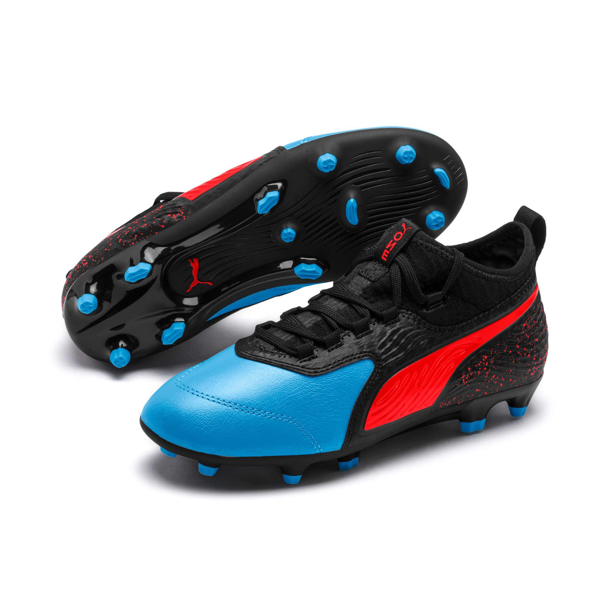 Thumbnail 2 of PUMA ONE 19.3 FG/AG Soccer Cleats JR, Bleu Azur-Red Blast-Black, medium