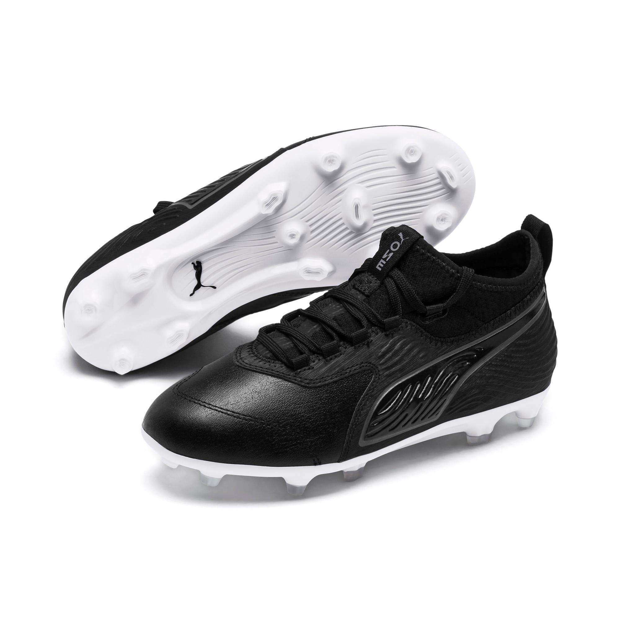 Thumbnail 2 of PUMA ONE 19.3 FG/AG Soccer Cleats JR, Puma Black-Puma Black-White, medium