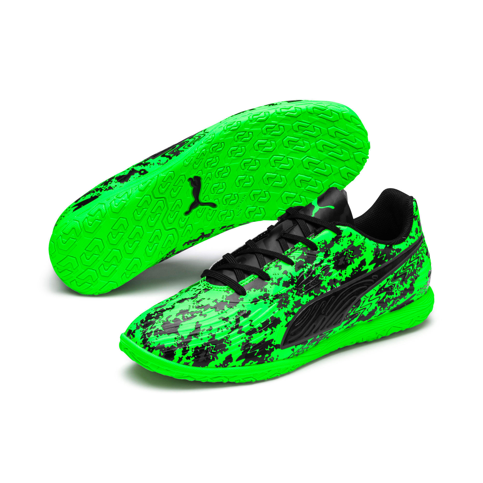 Thumbnail 2 of PUMA ONE 19.4 IT Soccer Shoes JR, Green Gecko-Black-Gray, medium
