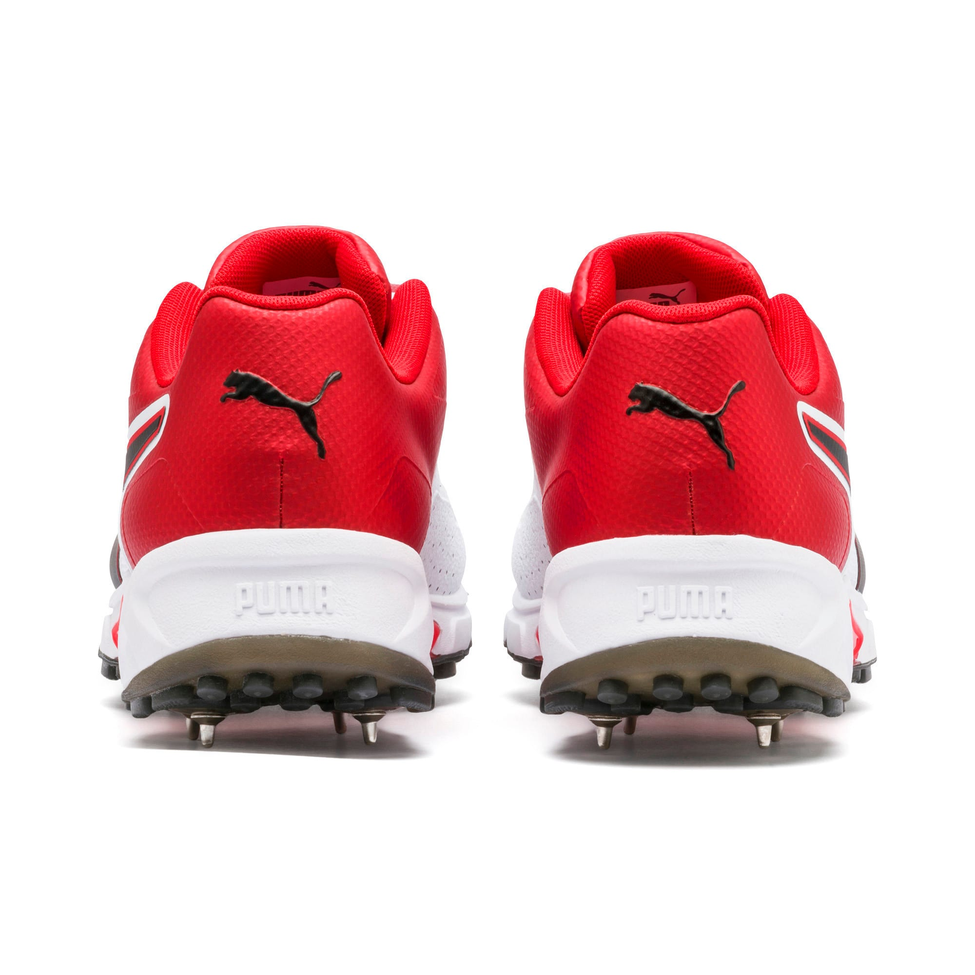 Thumbnail 3 of PUMA Spike 19.1 Men's Cricket Shoes, White-Black-High Risk Red, medium-IND