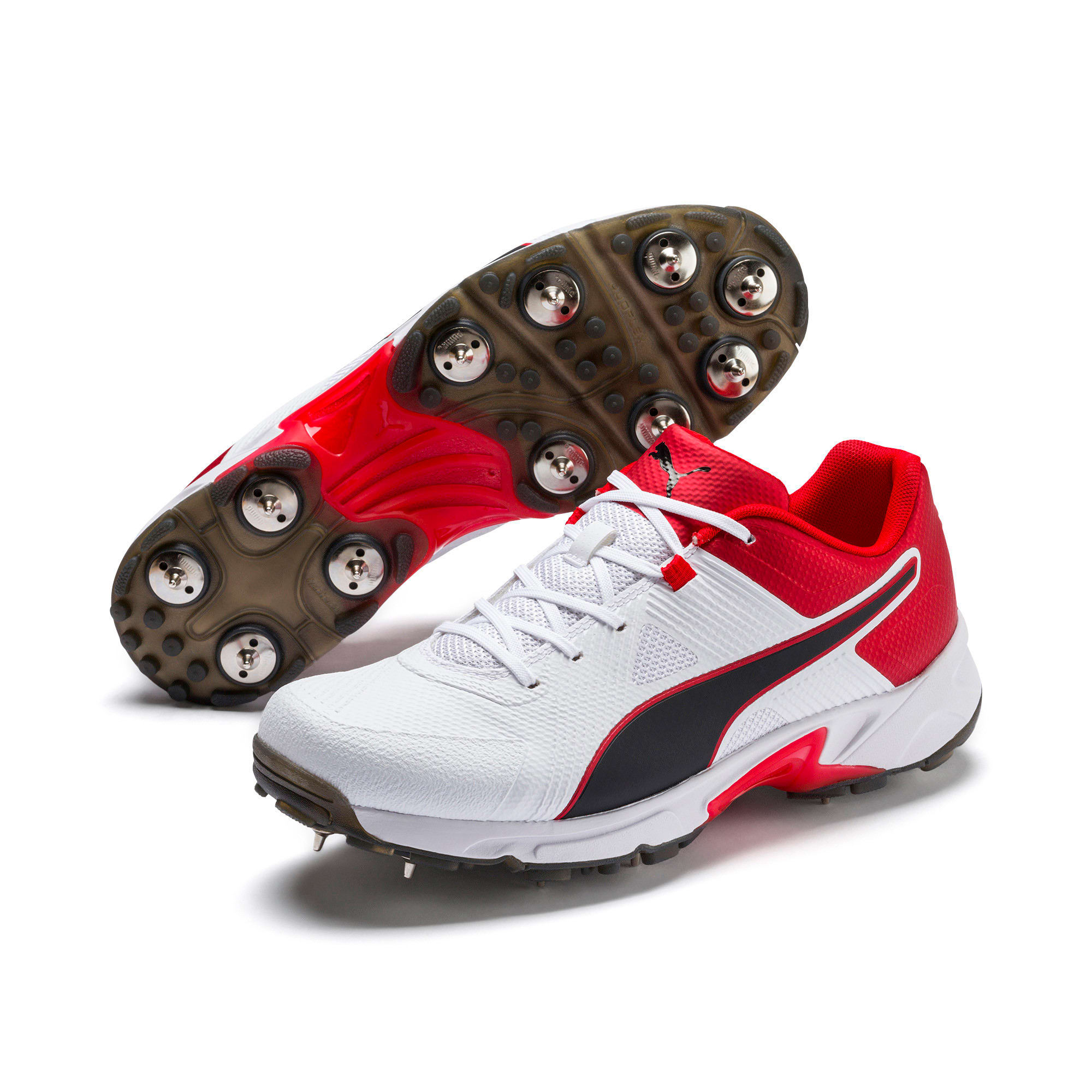 Thumbnail 2 of PUMA Spike 19.1 Men's Cricket Shoes, White-Black-High Risk Red, medium-IND
