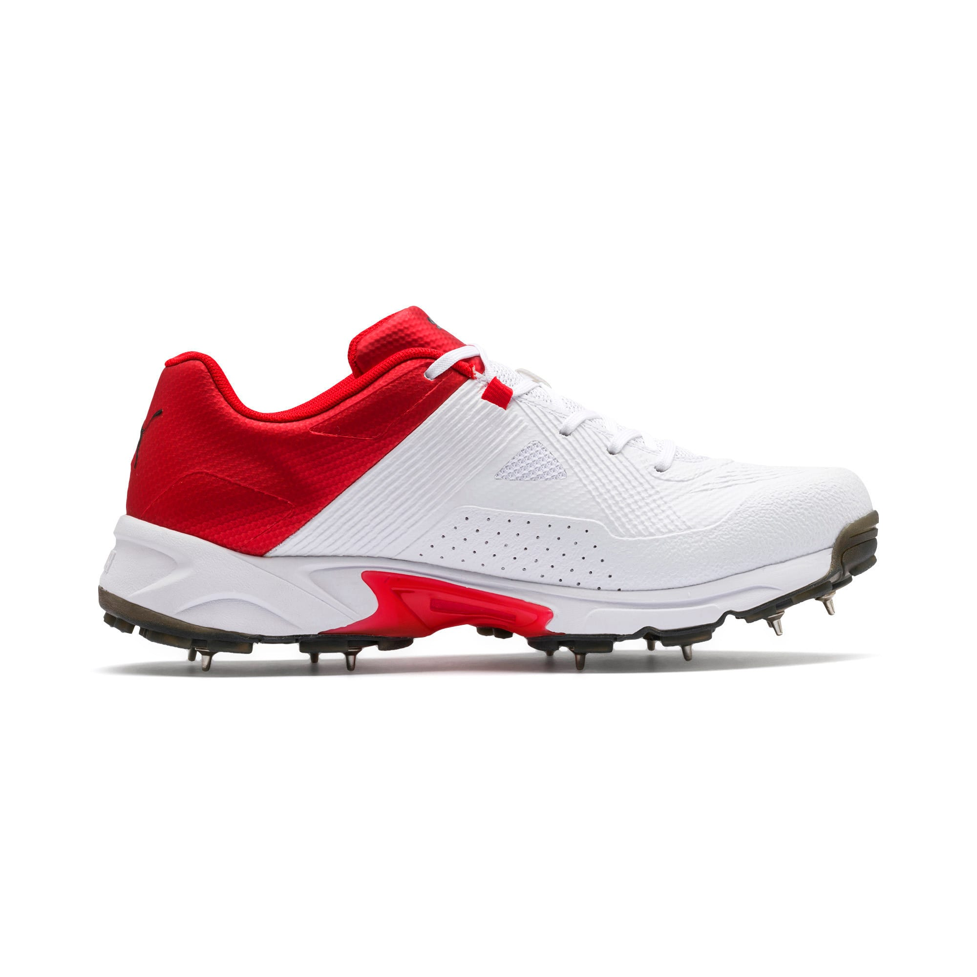 Thumbnail 5 of PUMA Spike 19.1 Men's Cricket Shoes, White-Black-High Risk Red, medium-IND