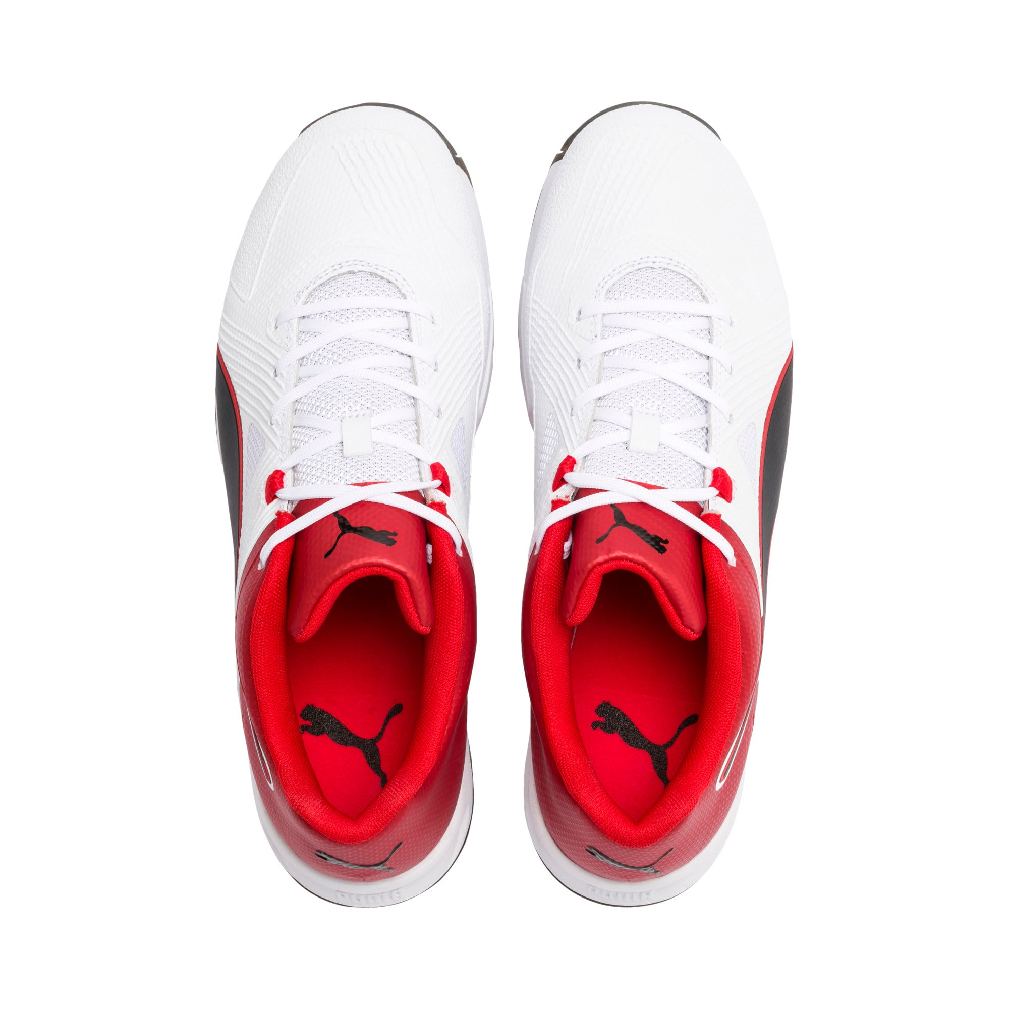 Thumbnail 6 of PUMA Spike 19.1 Men's Cricket Shoes, White-Black-High Risk Red, medium-IND