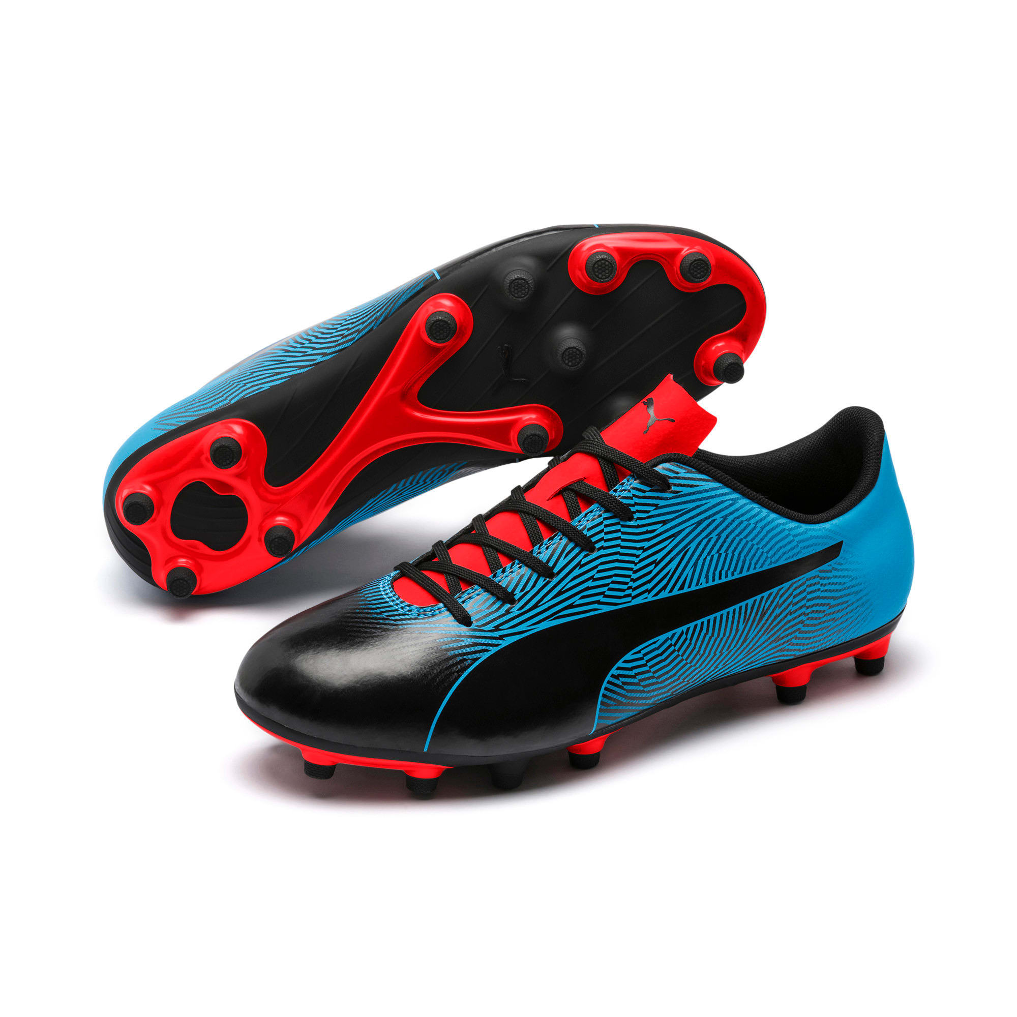 Miniatura 2 de Botines de fútbol PUMA Spirit II FG para hombre, Black-Bleu Azur-Red Blast, mediano