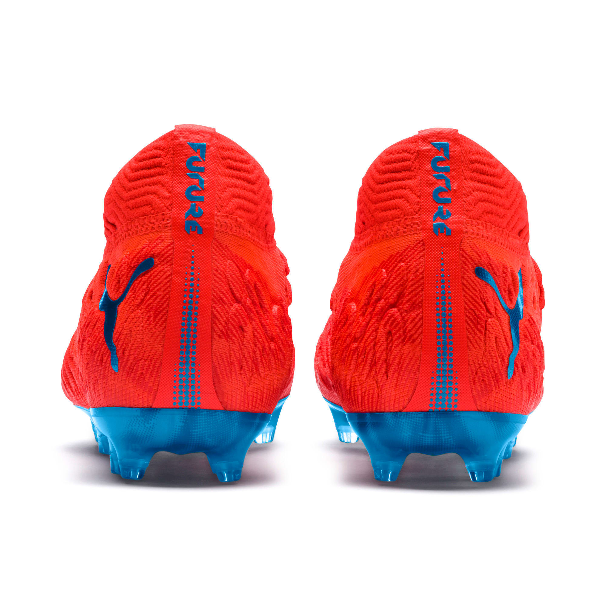Thumbnail 3 of FUTURE 19.1 NETFIT FG/AG Soccer Cleats JR, Red Blast-Bleu Azur, medium