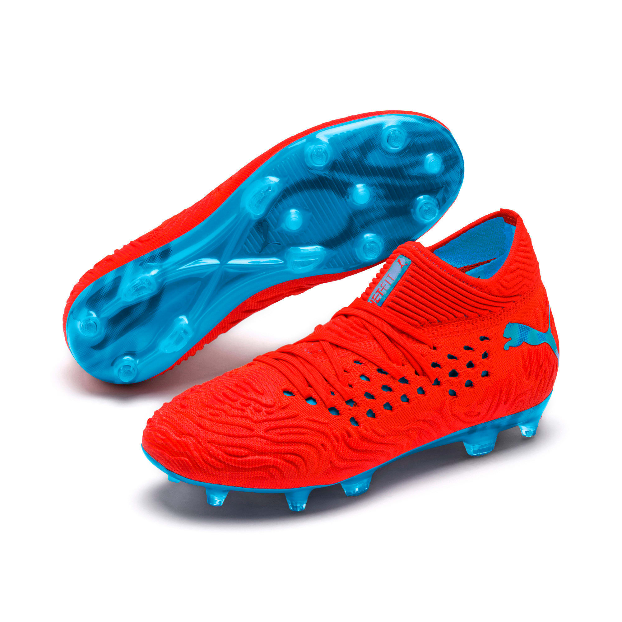 Thumbnail 2 of FUTURE 19.1 NETFIT FG/AG Soccer Cleats JR, Red Blast-Bleu Azur, medium