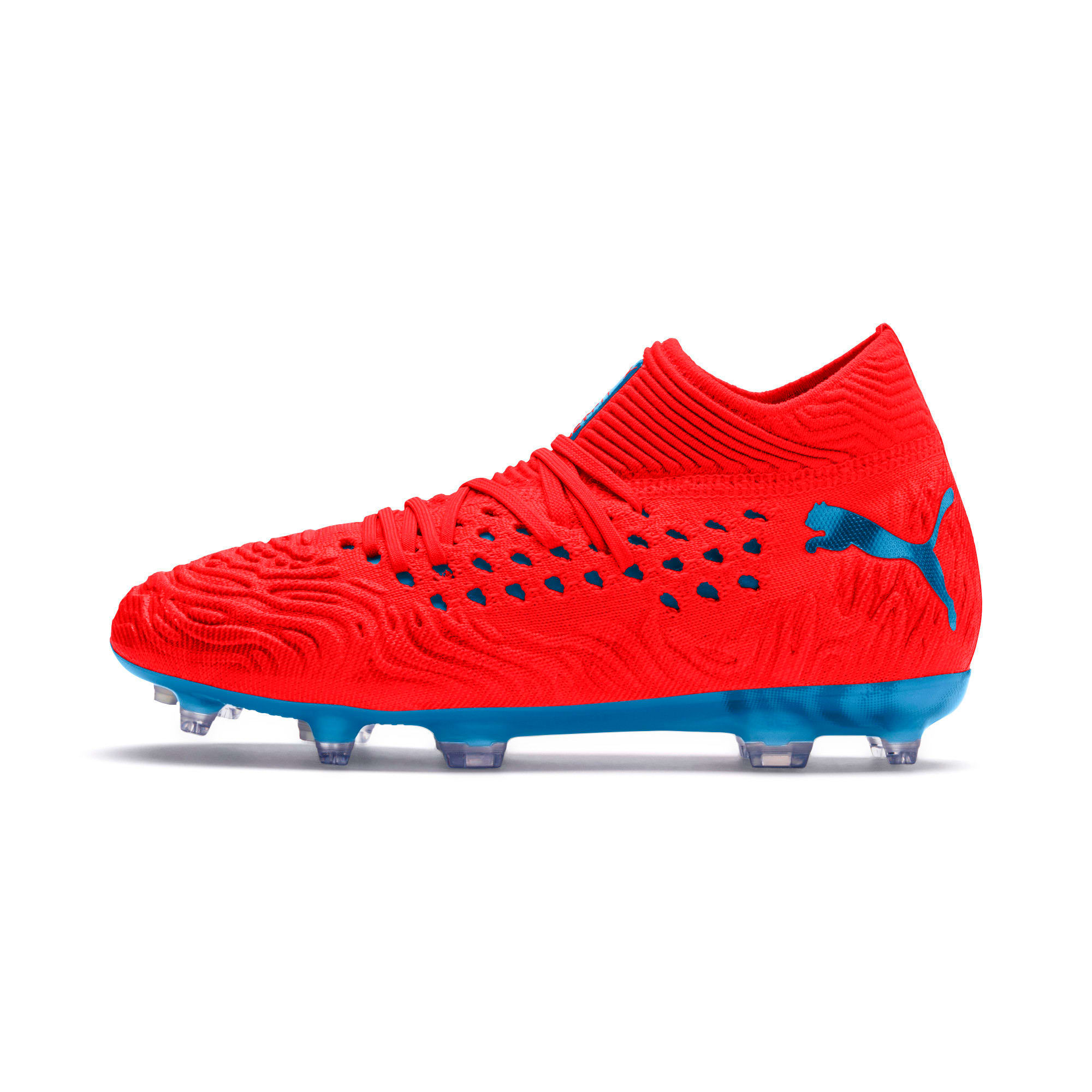 Thumbnail 1 of FUTURE 19.1 NETFIT FG/AG Soccer Cleats JR, Red Blast-Bleu Azur, medium