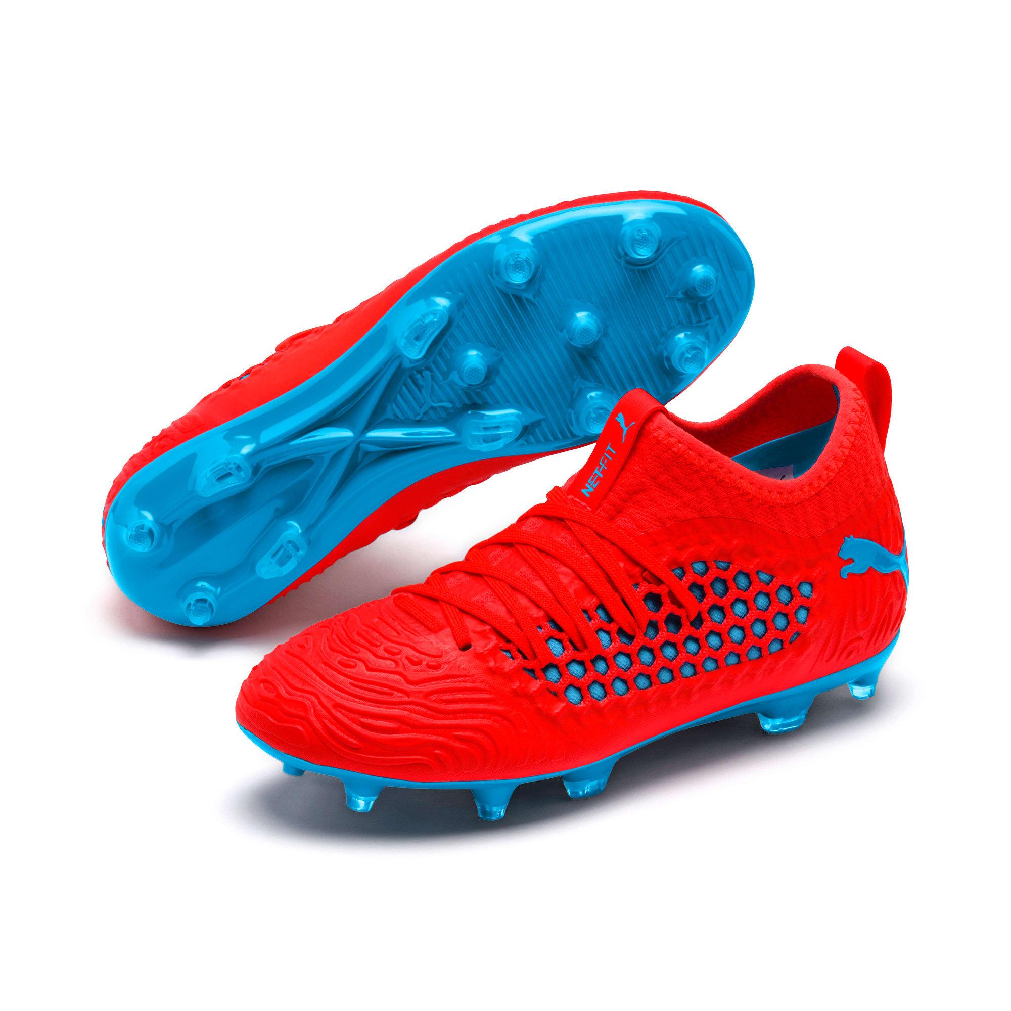 Thumbnail 2 of FUTURE 19.3 NETFIT FG/AG Soccer Cleats JR, Red Blast-Bleu Azur, medium