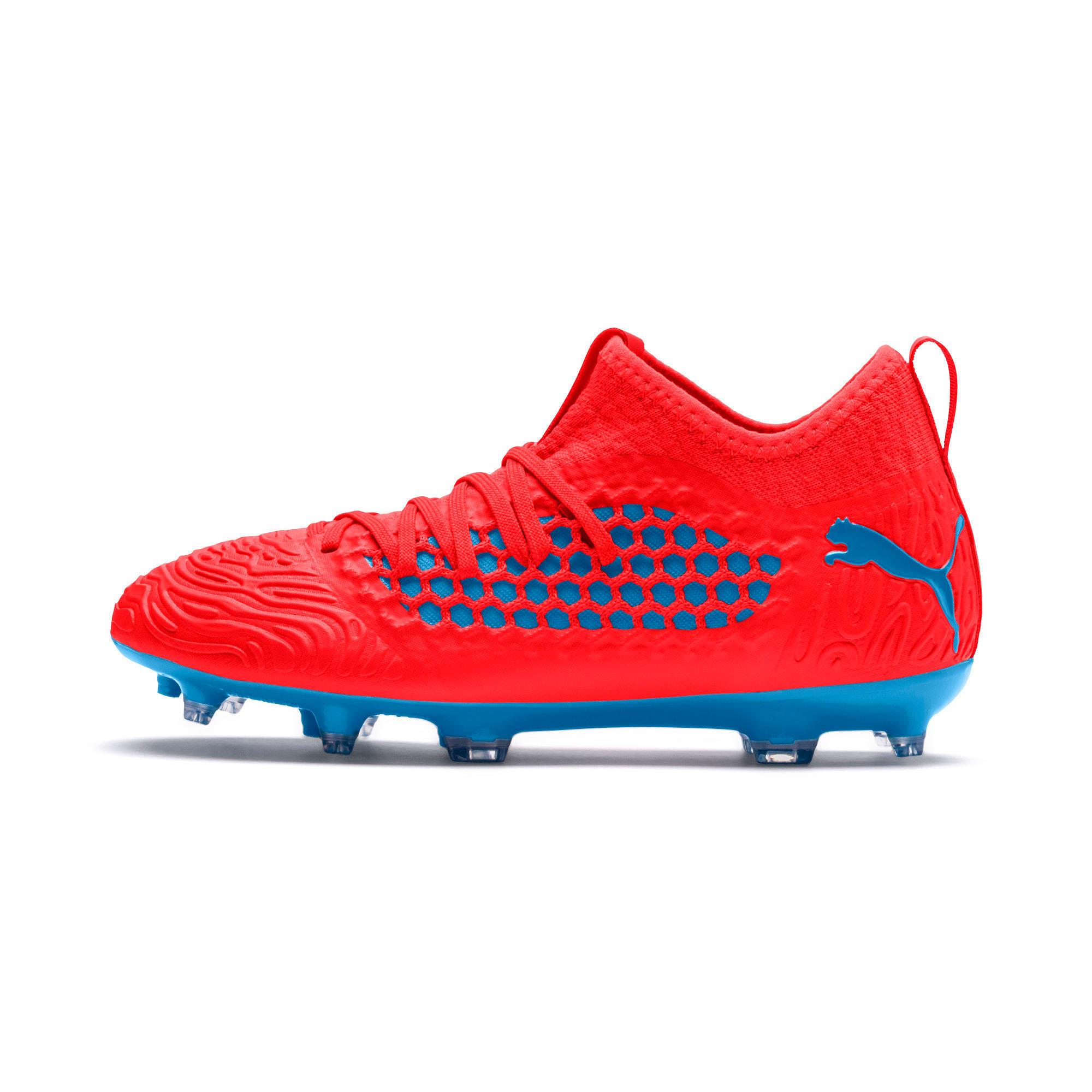 Thumbnail 1 of FUTURE 19.3 NETFIT FG/AG Soccer Cleats JR, Red Blast-Bleu Azur, medium