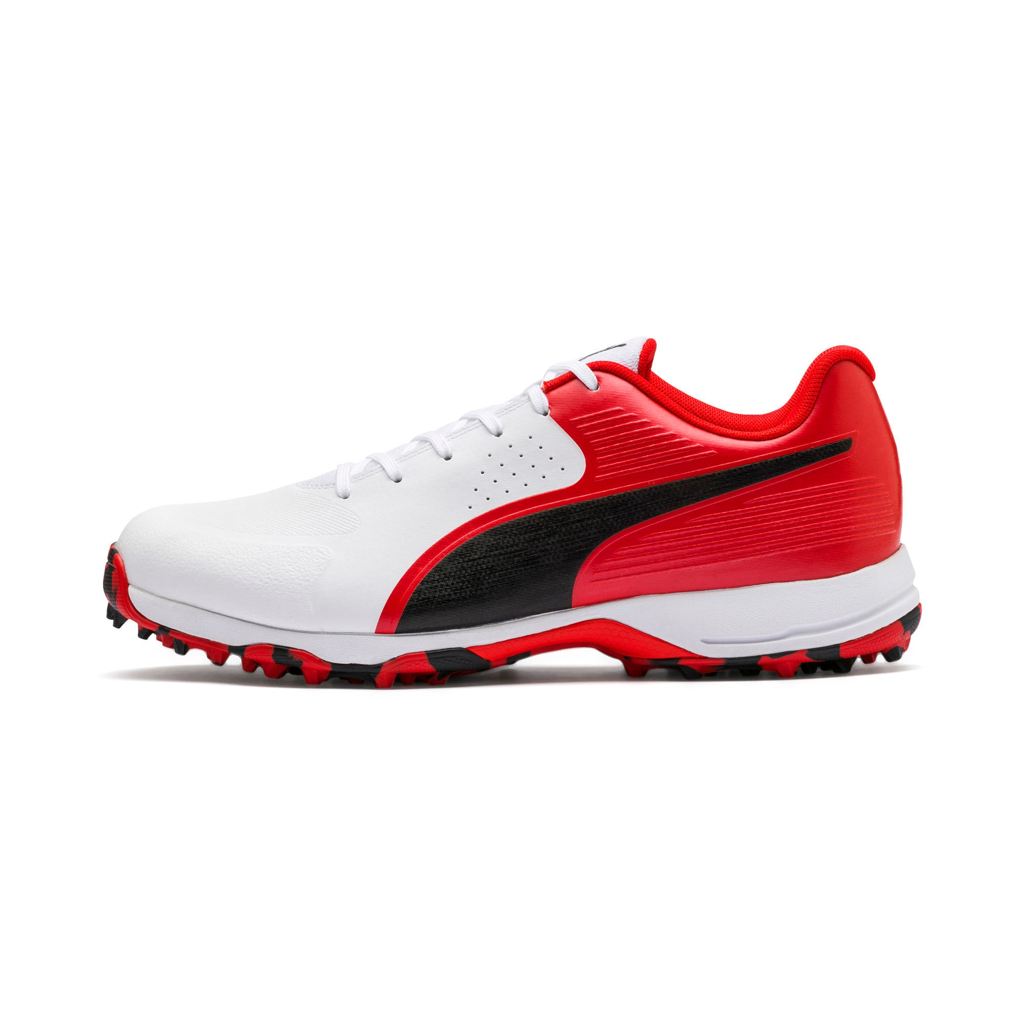 Thumbnail 1 of PUMA 19 FH Rubber Men's Cricket Shoes, White-Black-High Risk Red, medium-IND