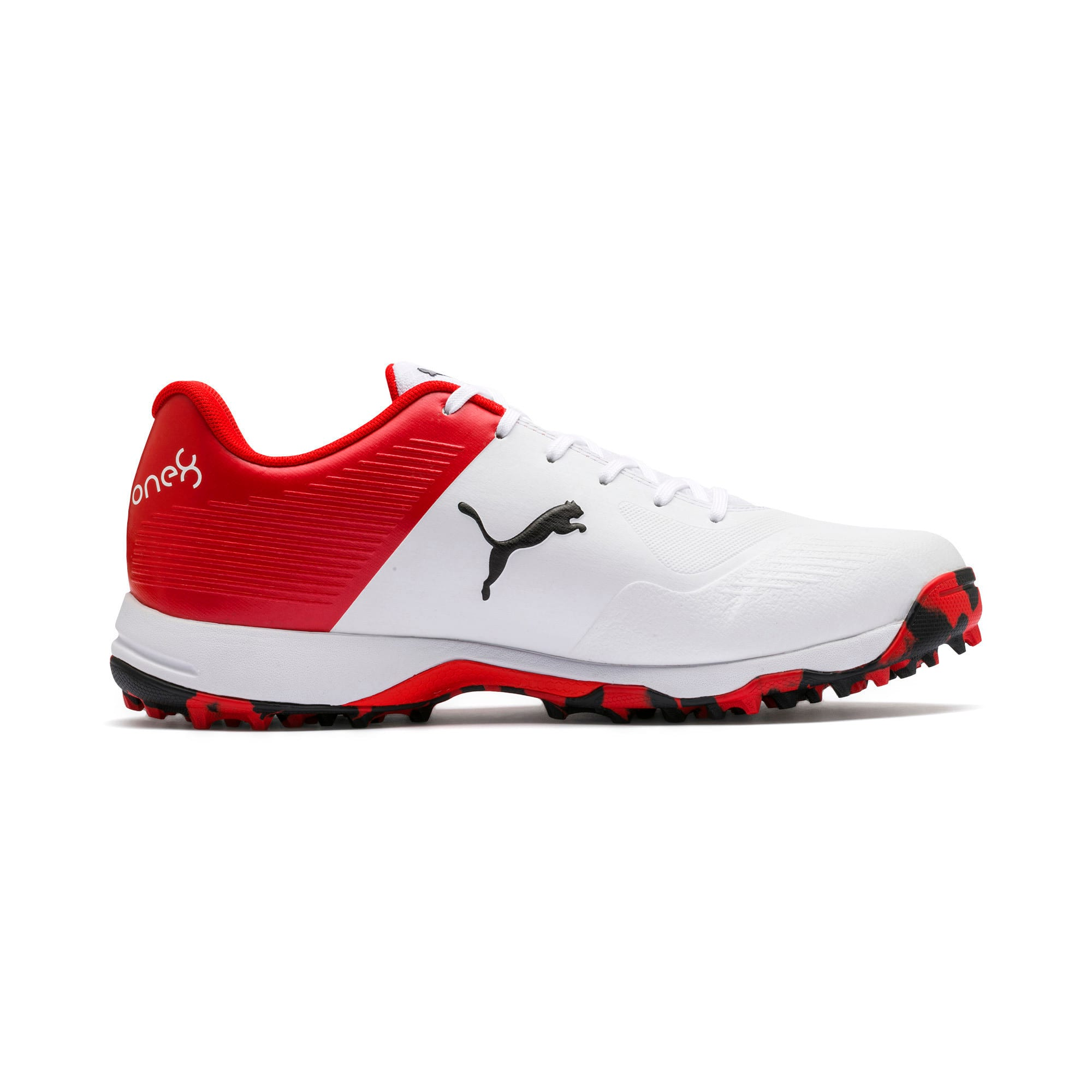 Thumbnail 5 of PUMA 19 FH Rubber Men's Cricket Shoes, White-Black-High Risk Red, medium-IND