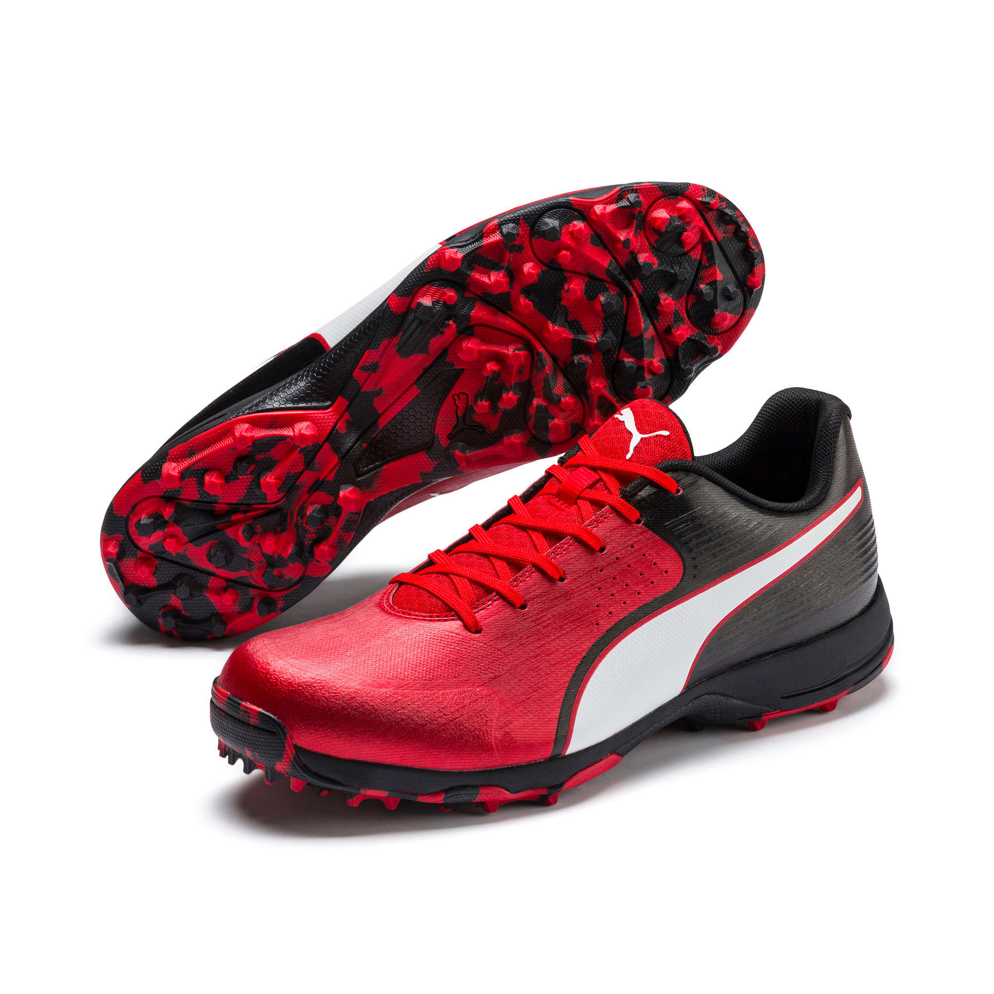 Thumbnail 2 of PUMA 19 FH Rubber Men's Cricket Shoes, High Risk Red-Black-White, medium-IND