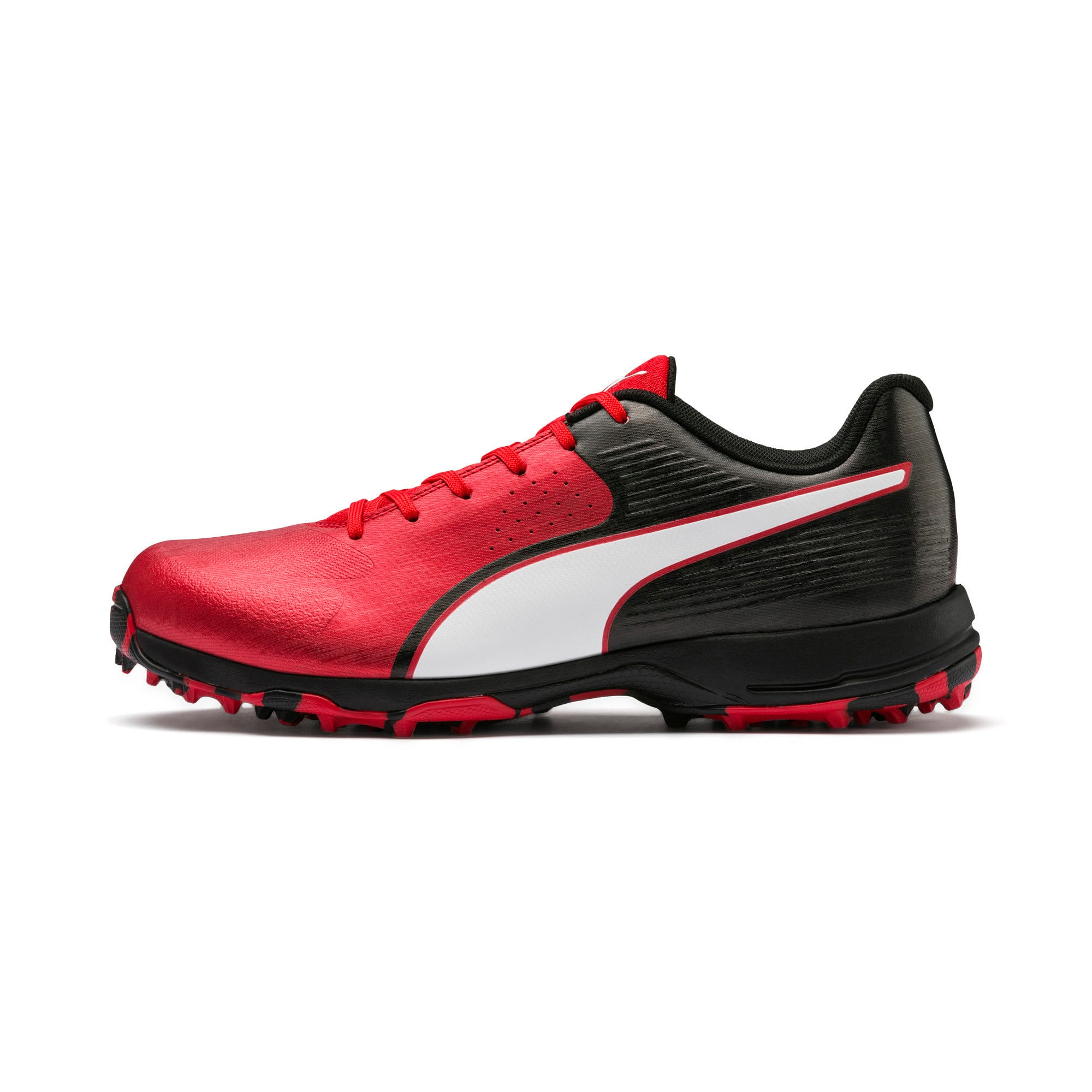 Thumbnail 1 of PUMA 19 FH Rubber Men's Cricket Shoes, High Risk Red-Black-White, medium-IND