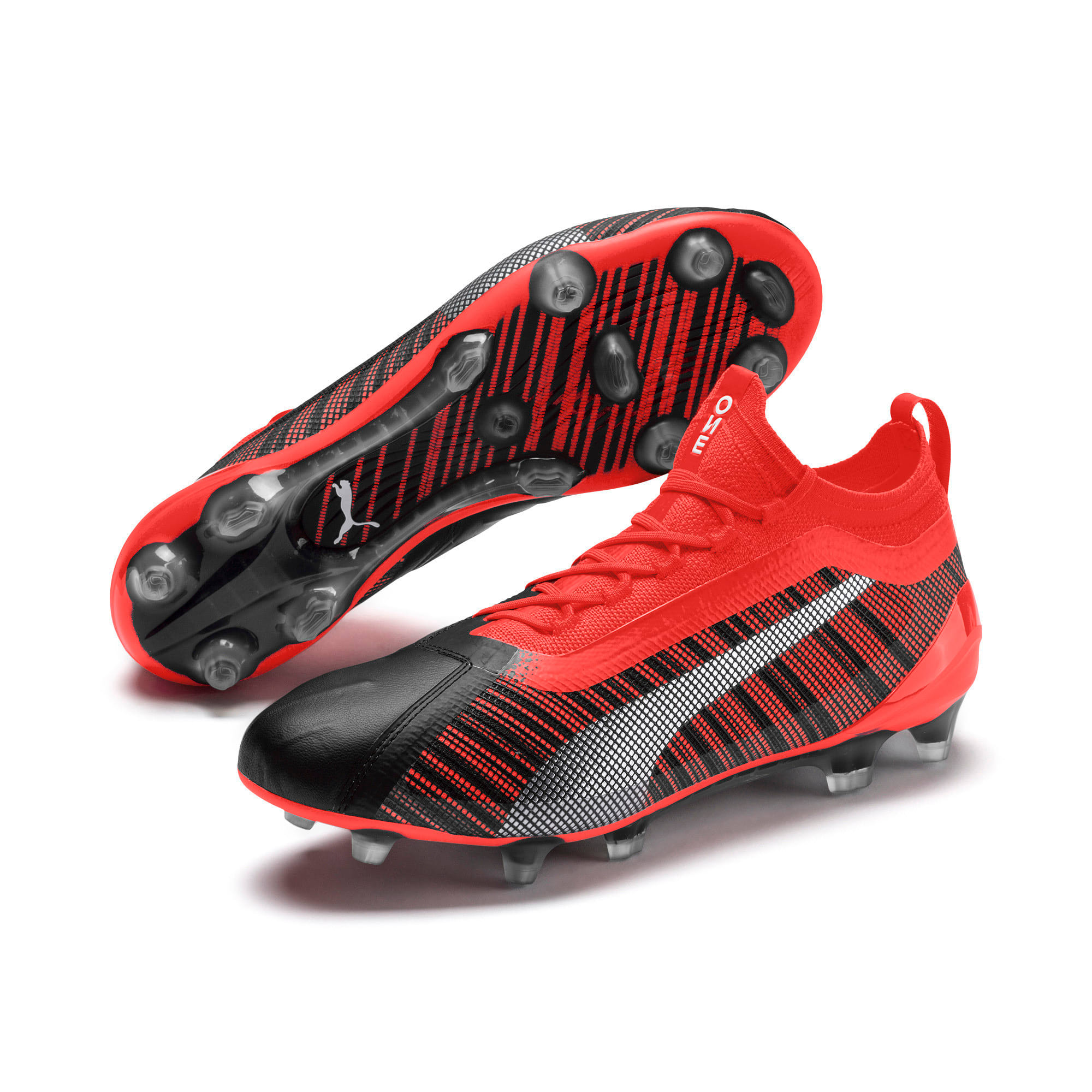 Thumbnail 4 of PUMA ONE 5.1 evoKNIT FG/AG Men's Football Boots, Black-Nrgy Red-Aged Silver, medium-IND