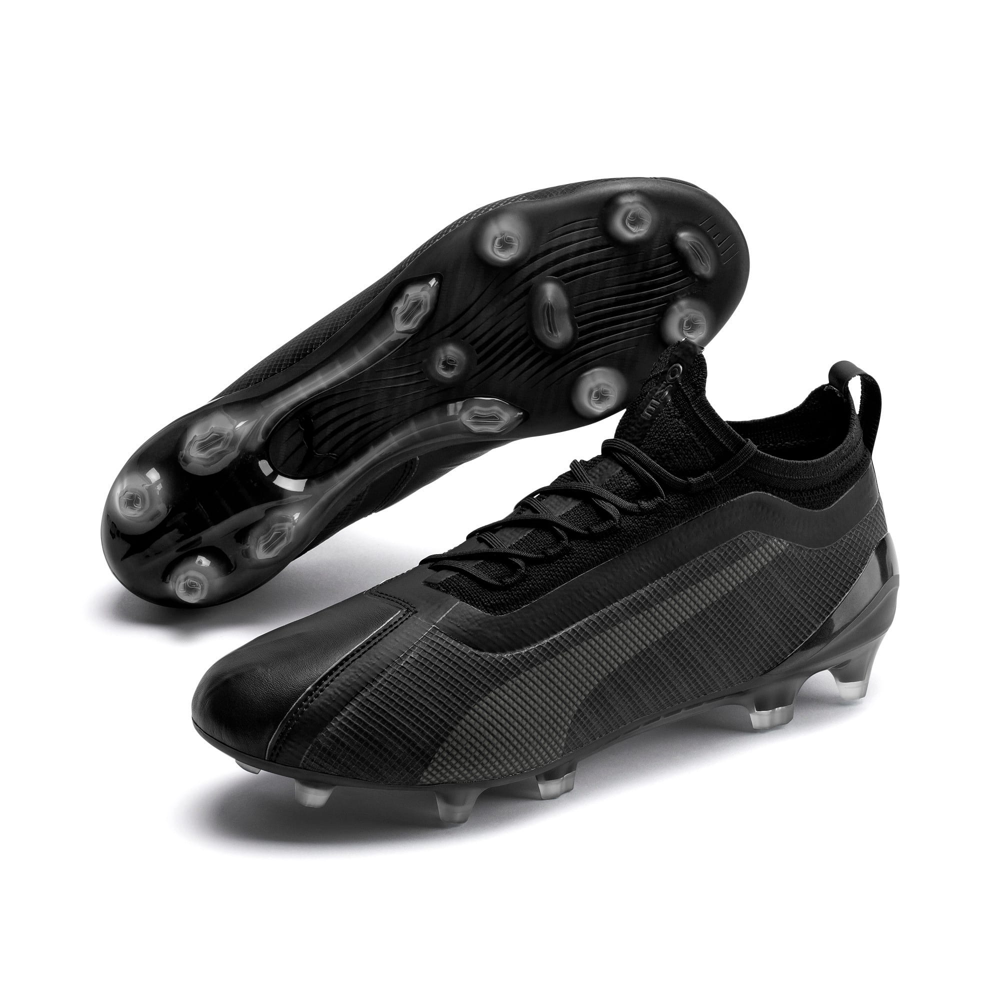 Thumbnail 2 of PUMA ONE 5.1 evoKNIT FG/AG Men's Football Boots, Black-Black-Puma Aged Silver, medium