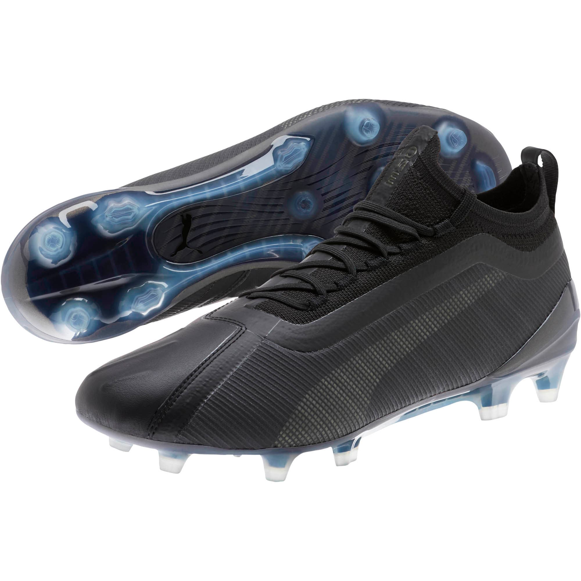Thumbnail 2 of PUMA ONE 5.1 FG/AG Men's Soccer Cleats, Black-Black-Puma Aged Silver, medium