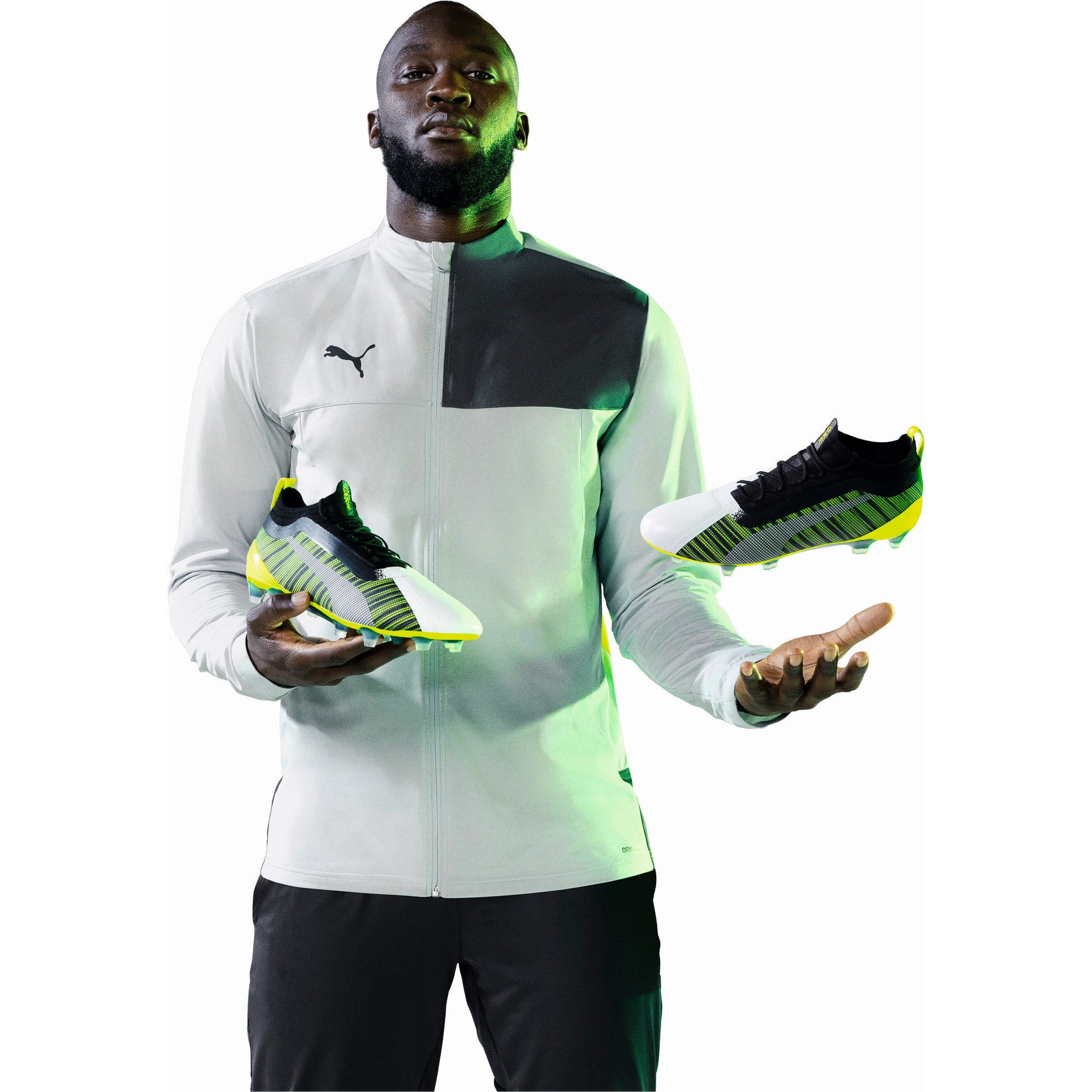 Thumbnail 9 of PUMA ONE 5.1 evoKNIT FG/AG Men's Football Boots, White-Black-Yellow Alert, medium
