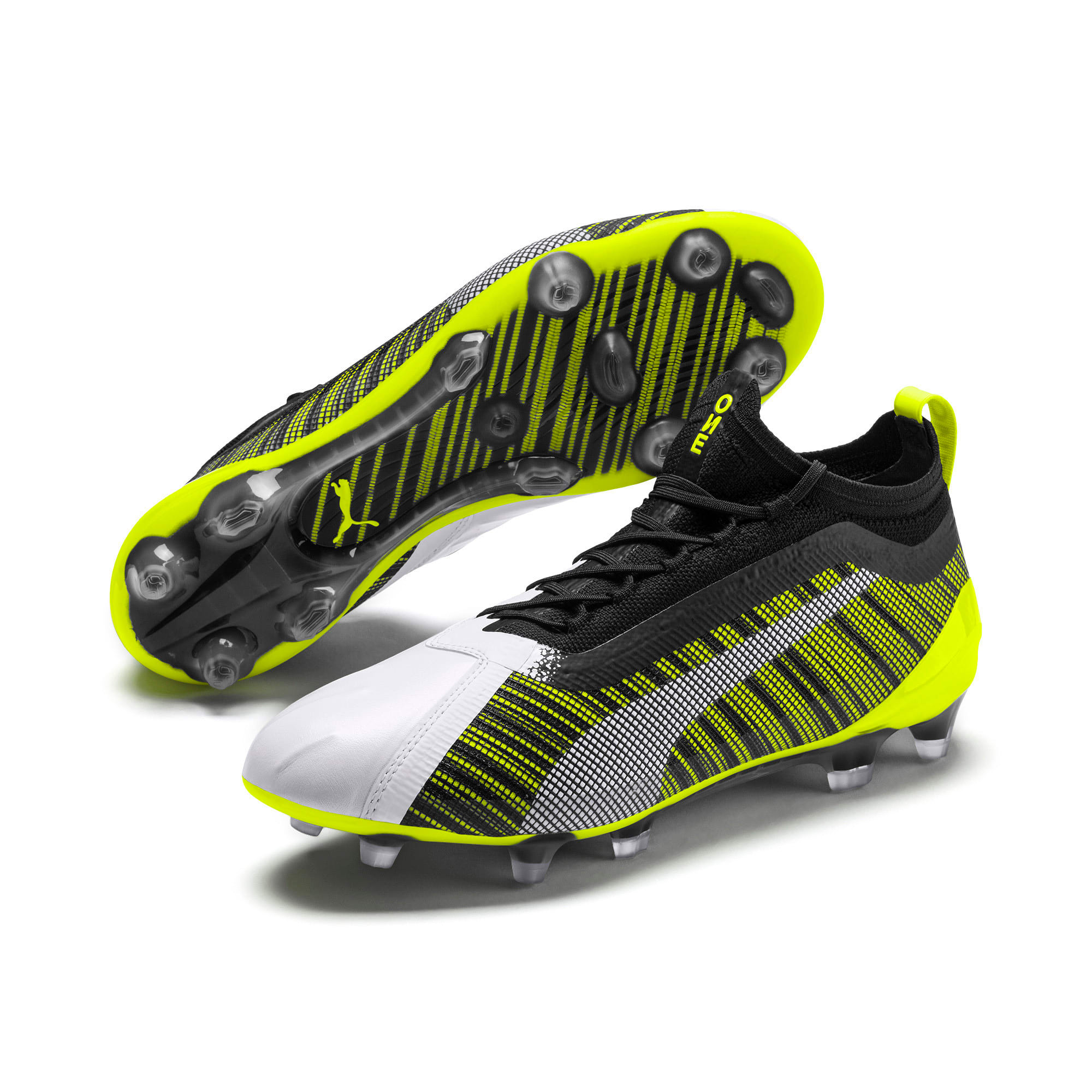 Thumbnail 3 of PUMA ONE 5.1 evoKNIT FG/AG Men's Football Boots, White-Black-Yellow Alert, medium