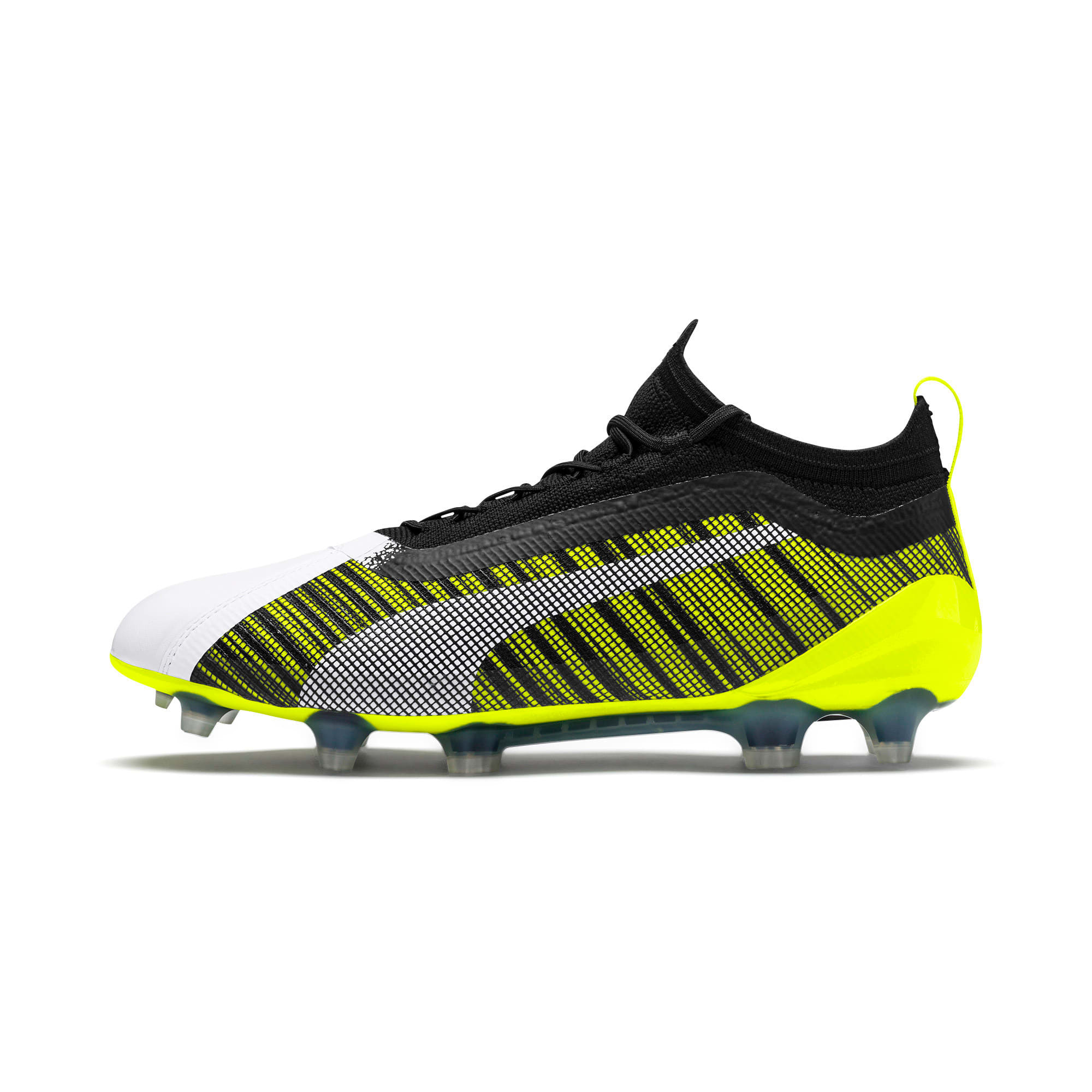 Thumbnail 1 of PUMA ONE 5.1 evoKNIT FG/AG Men's Football Boots, White-Black-Yellow Alert, medium