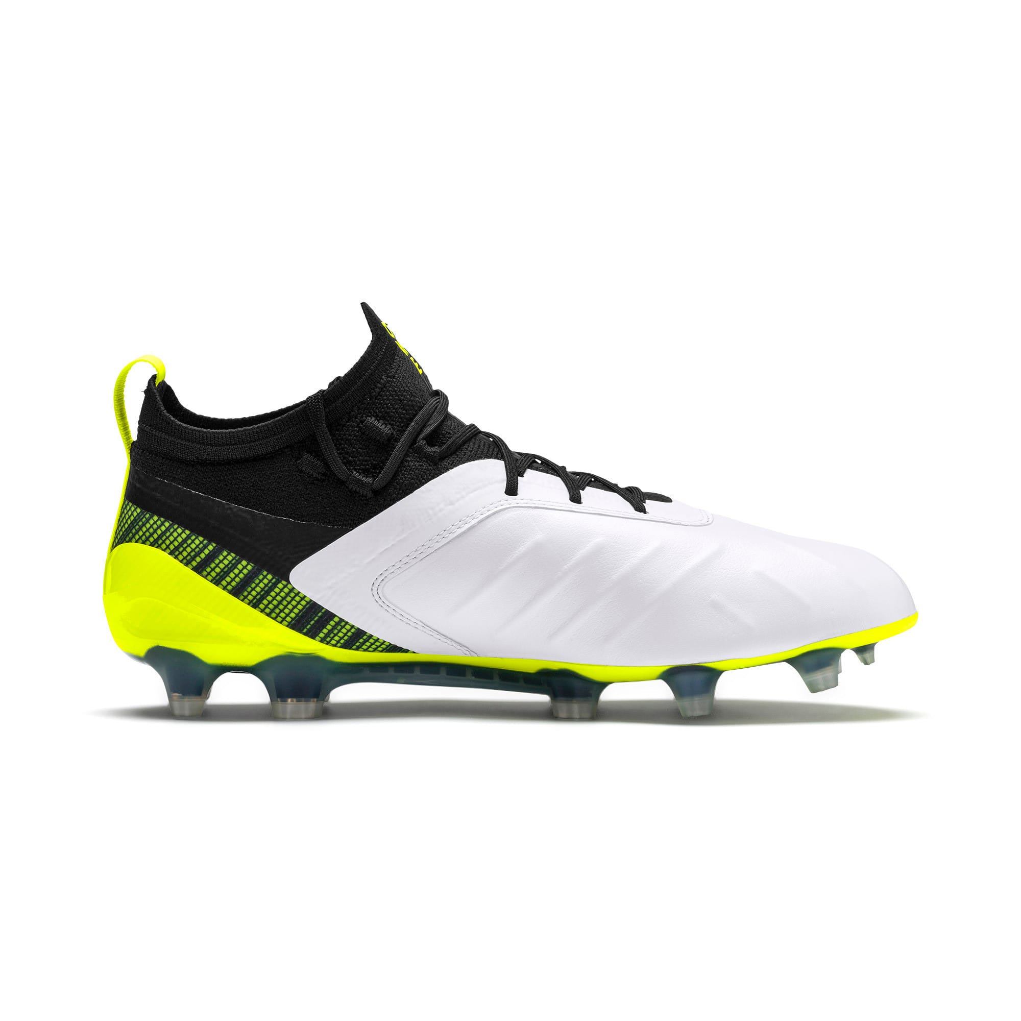 Thumbnail 6 of PUMA ONE 5.1 evoKNIT FG/AG Men's Football Boots, White-Black-Yellow Alert, medium