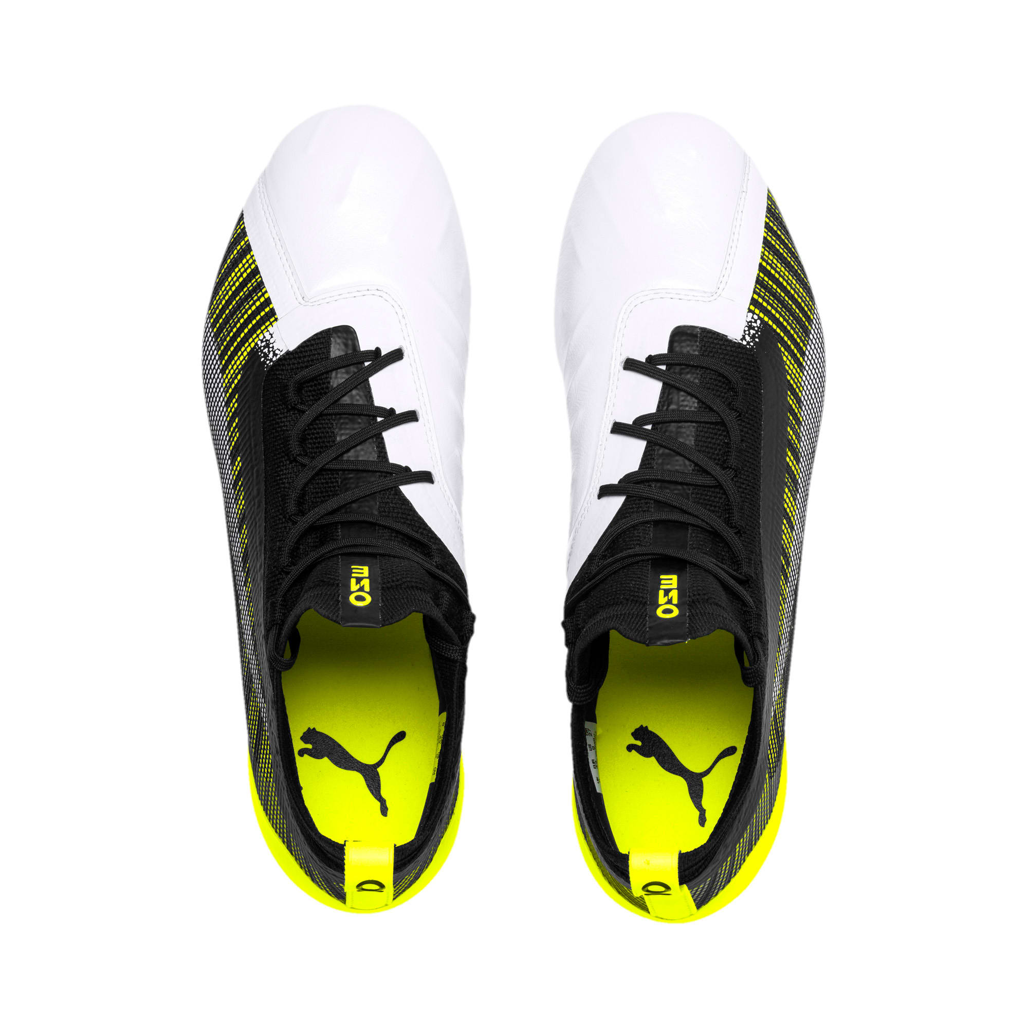 Thumbnail 7 of PUMA ONE 5.1 evoKNIT FG/AG Men's Football Boots, White-Black-Yellow Alert, medium