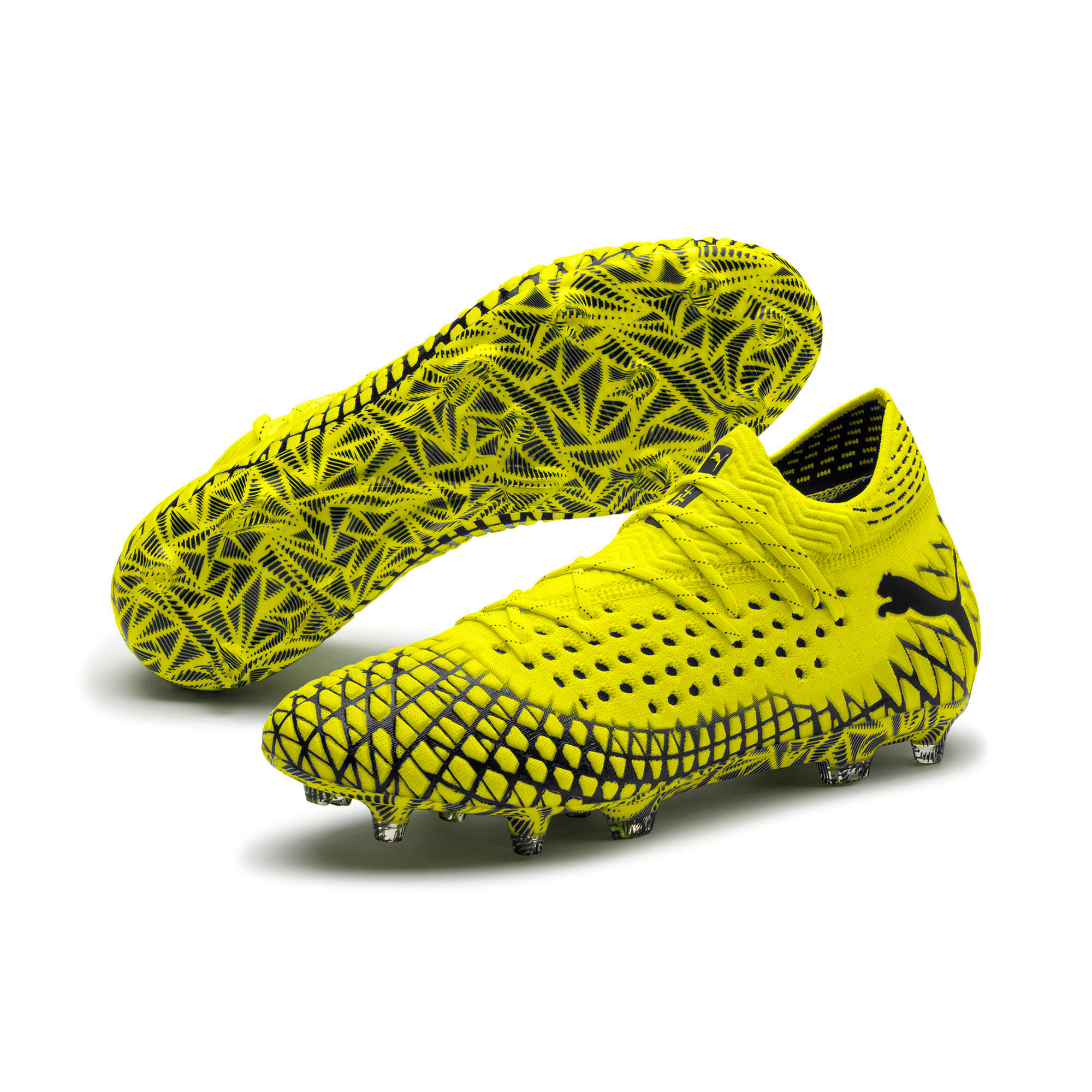 Thumbnail 2 of FUTURE 4.1 NETFIT FG/AG Men's Soccer Cleats, Yellow Alert-Puma Black, medium