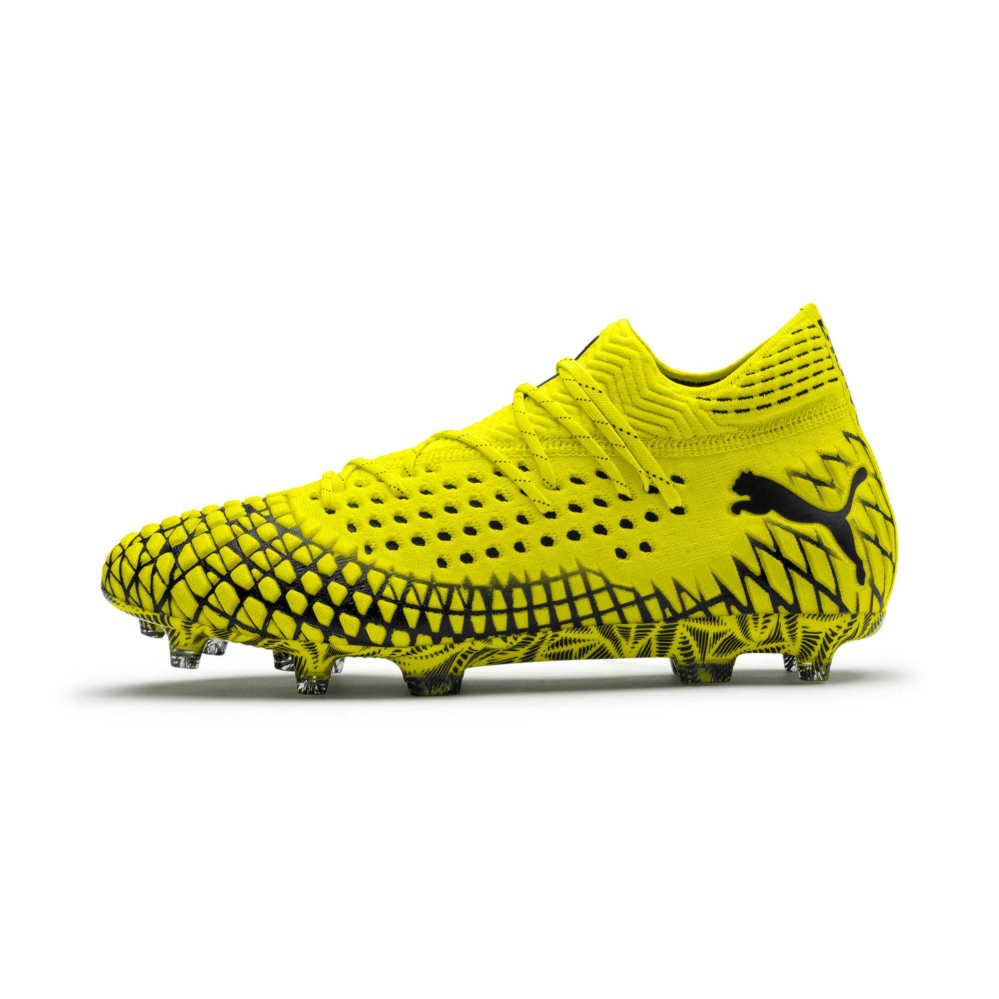 Thumbnail 1 of FUTURE 4.1 NETFIT FG/AG Men's Soccer Cleats, Yellow Alert-Puma Black, medium