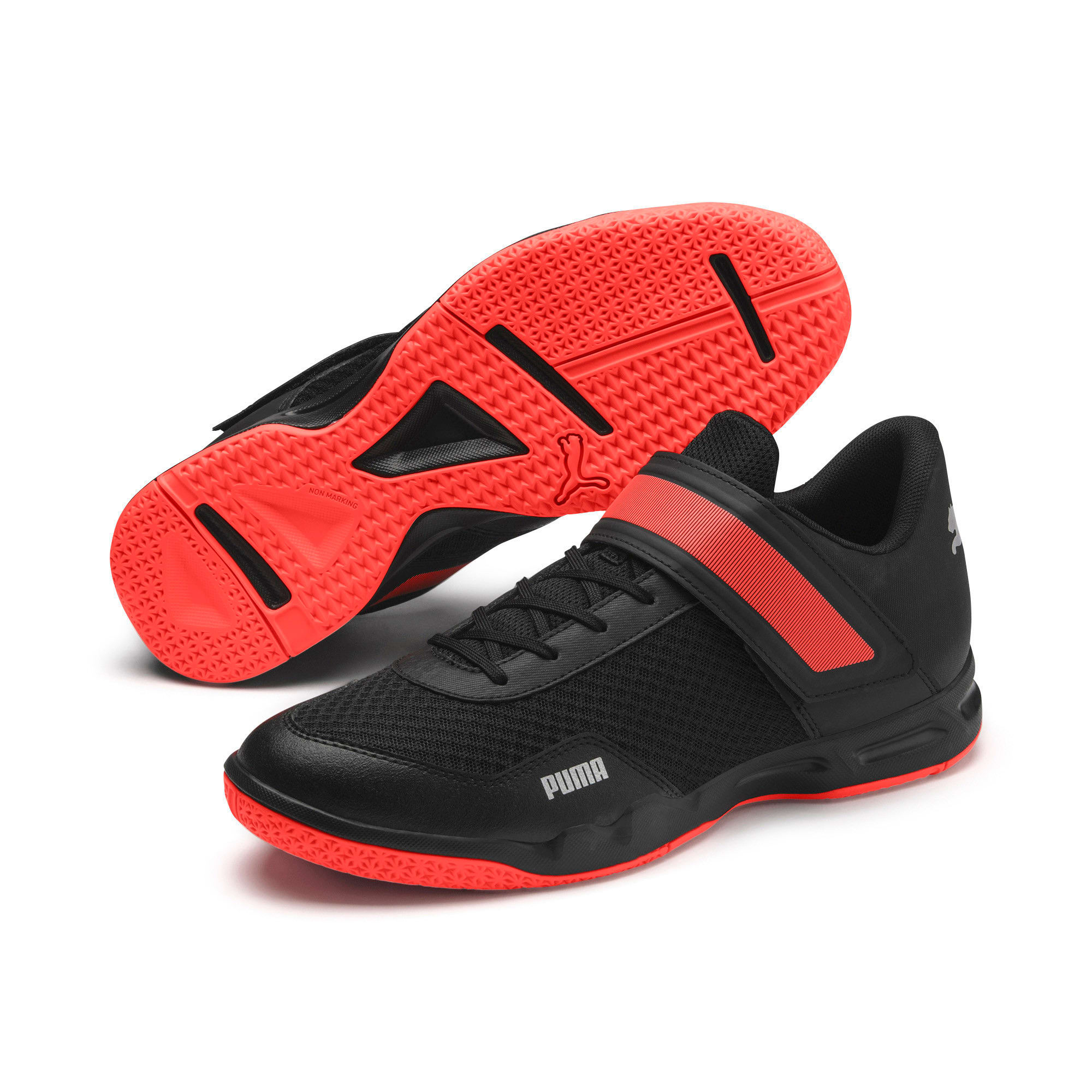 Thumbnail 8 of Rise XT 4 Men's Indoor Sports Trainers, Puma Black-Silver-Nrgy Red, medium-IND