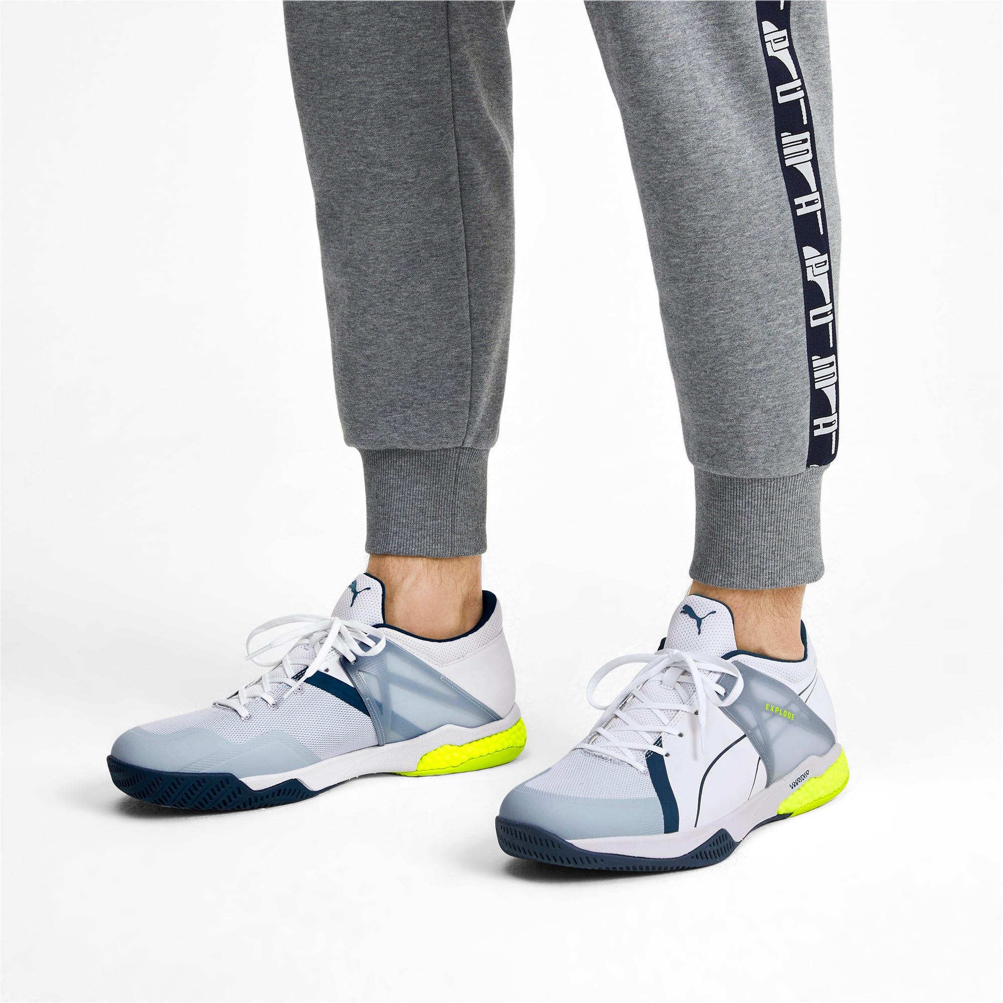 Thumbnail 3 of Explode XT Hybrid 2 Handball Shoes, White-Grey-Yellow-Gibraltar, medium-IND