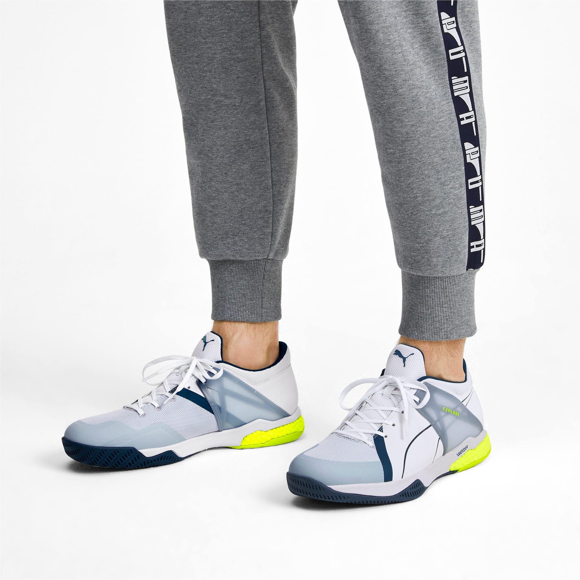 Thumbnail 2 of Explode XT Hybrid 2 Handball Shoes, White-Grey-Yellow-Gibraltar, medium-IND