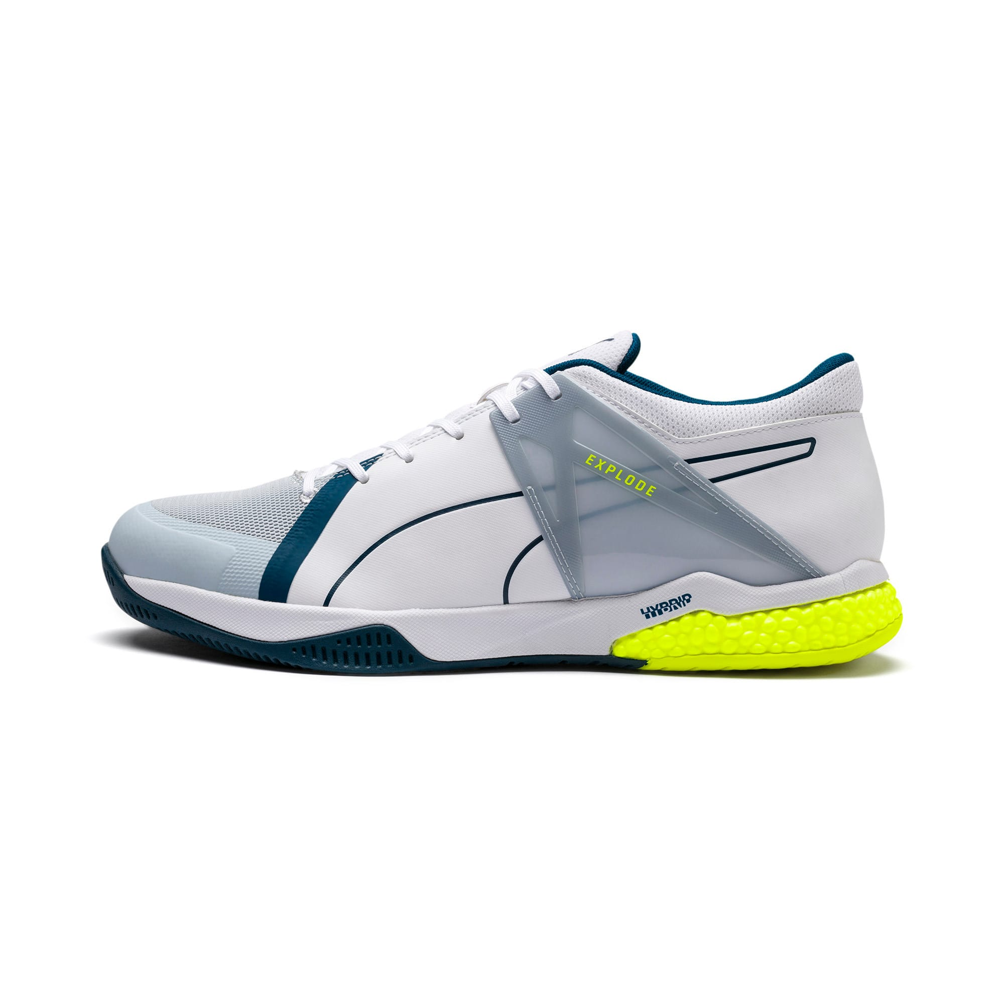 Thumbnail 1 of Explode XT Hybrid 2 Handball Shoes, White-Grey-Yellow-Gibraltar, medium-IND