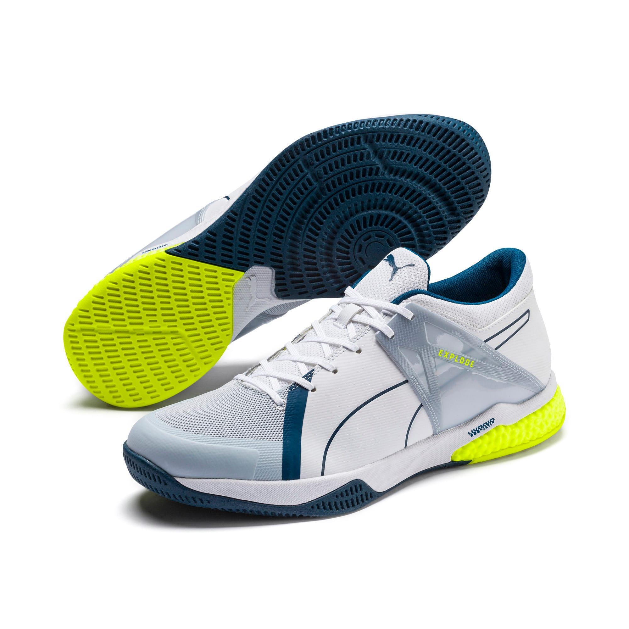 Thumbnail 8 of Explode XT Hybrid 2 Handball Shoes, White-Grey-Yellow-Gibraltar, medium-IND