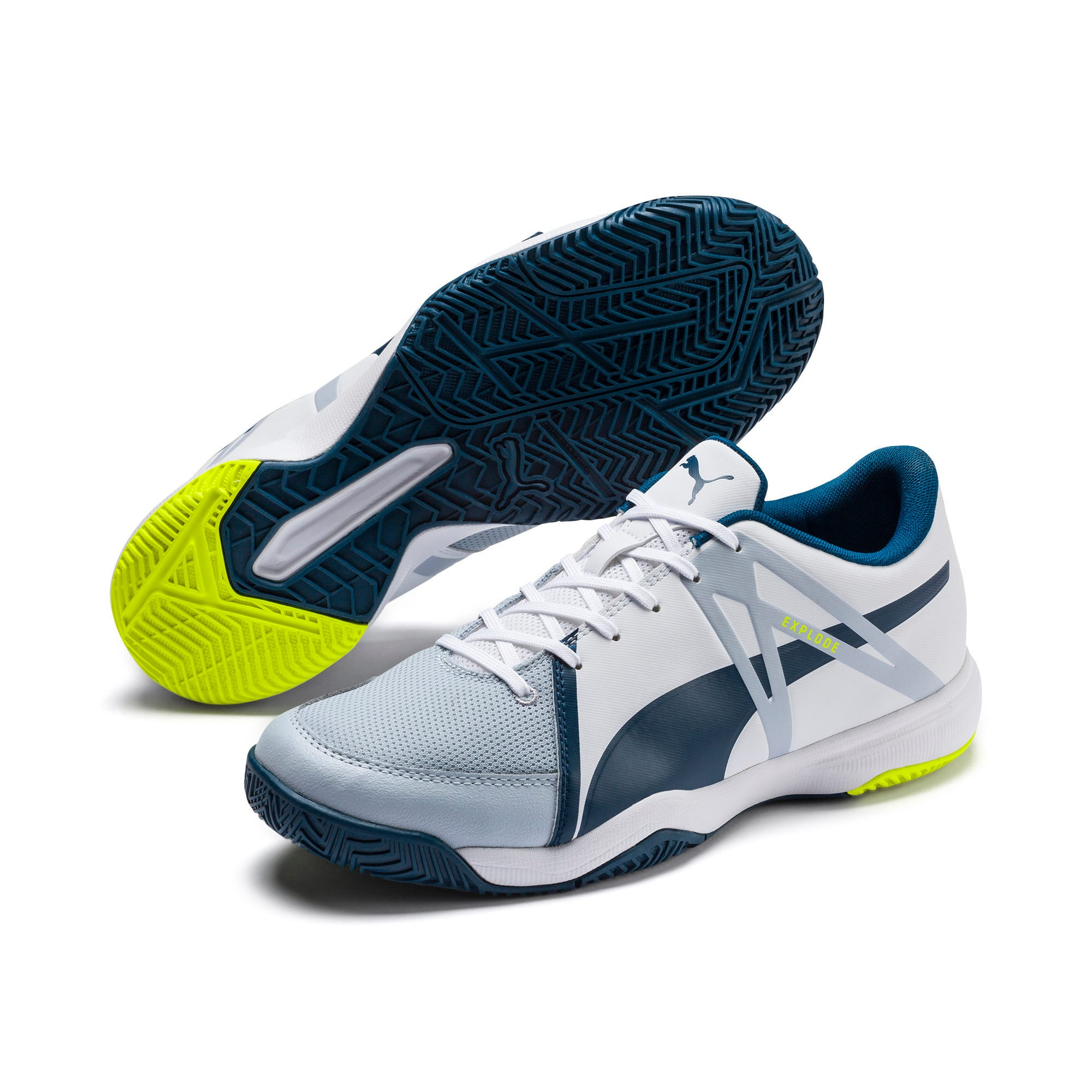 Thumbnail 8 of Explode XT 3 Men's Indoor Sports Performance Trainers, White-Grey-Yellow-Gibraltar, medium-IND