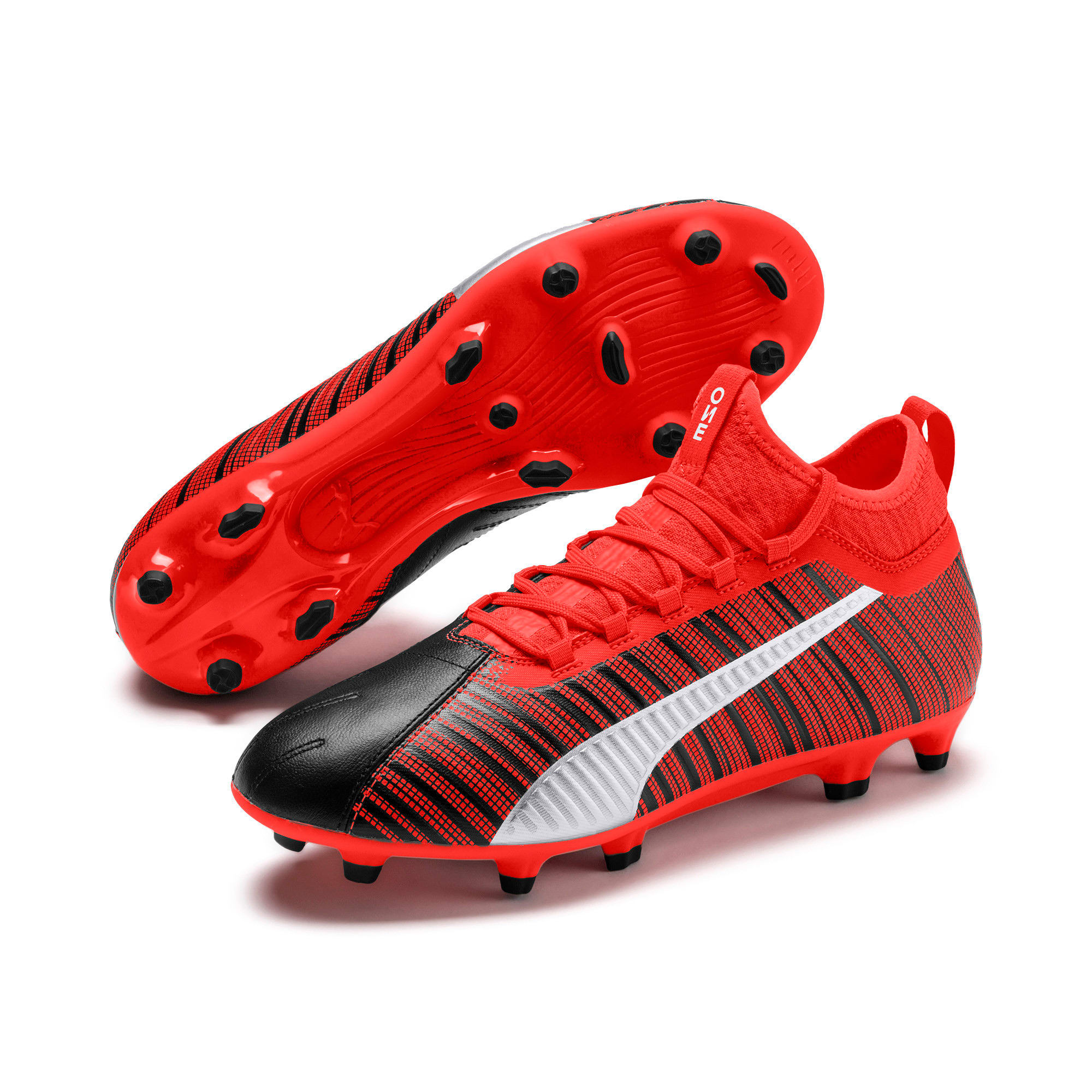 Thumbnail 3 of PUMA ONE 5.3 FG/AG Men's Soccer Cleats, Black-Nrgy Red-Aged Silver, medium