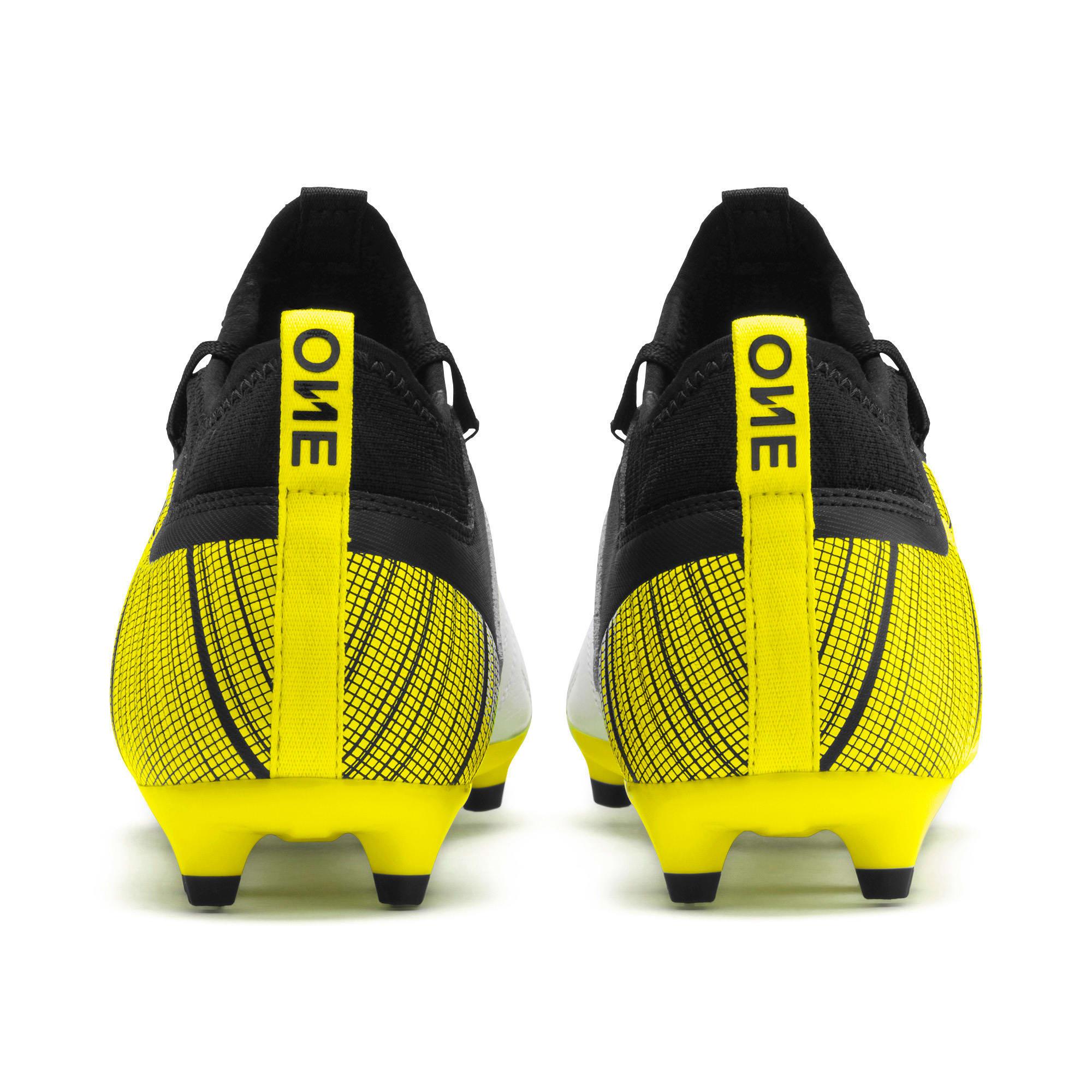 Thumbnail 4 of PUMA ONE 5.3 FG/AG Men's Soccer Cleats, White-Black-Yellow Alert, medium