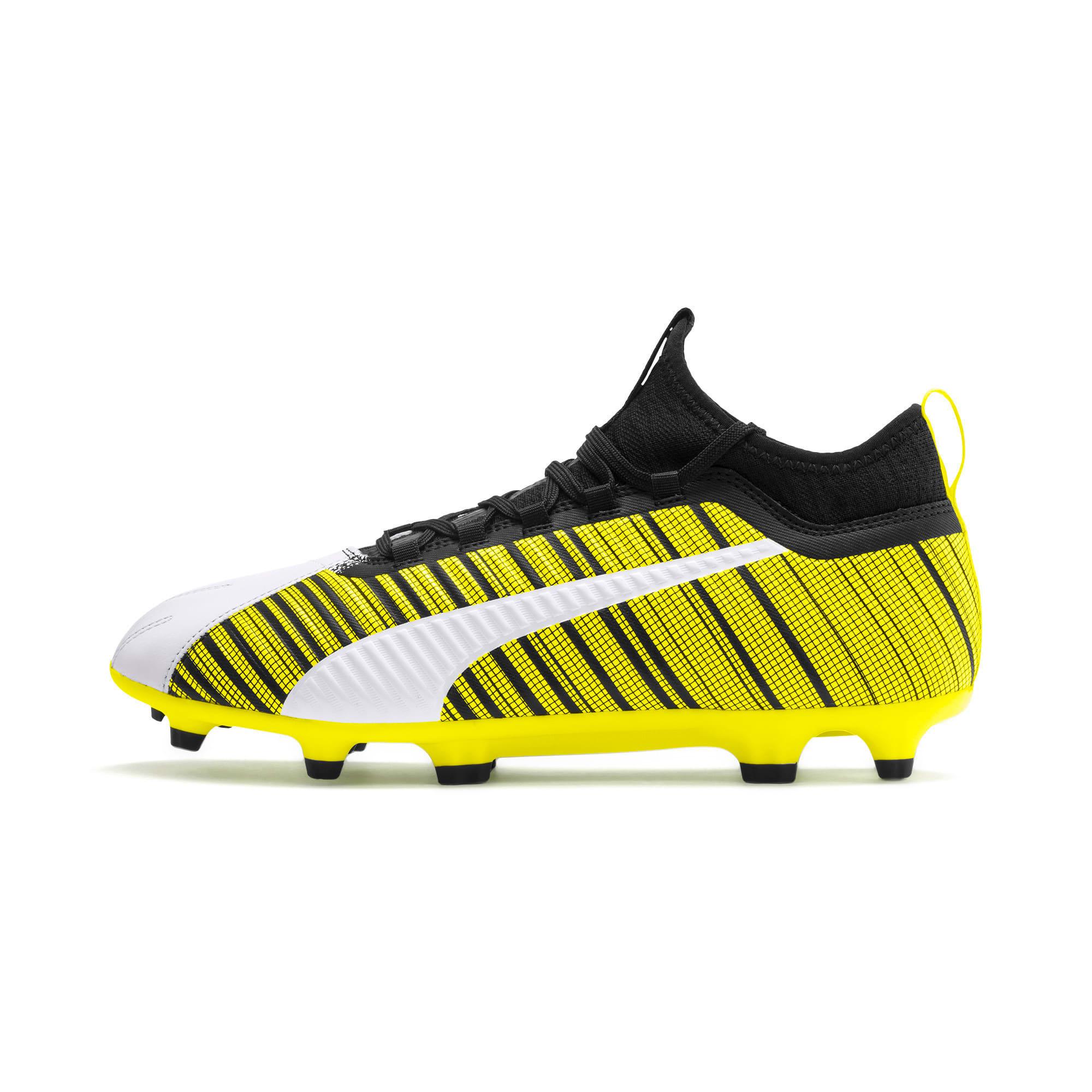 Thumbnail 1 of PUMA ONE 5.3 FG/AG Men's Soccer Cleats, White-Black-Yellow Alert, medium