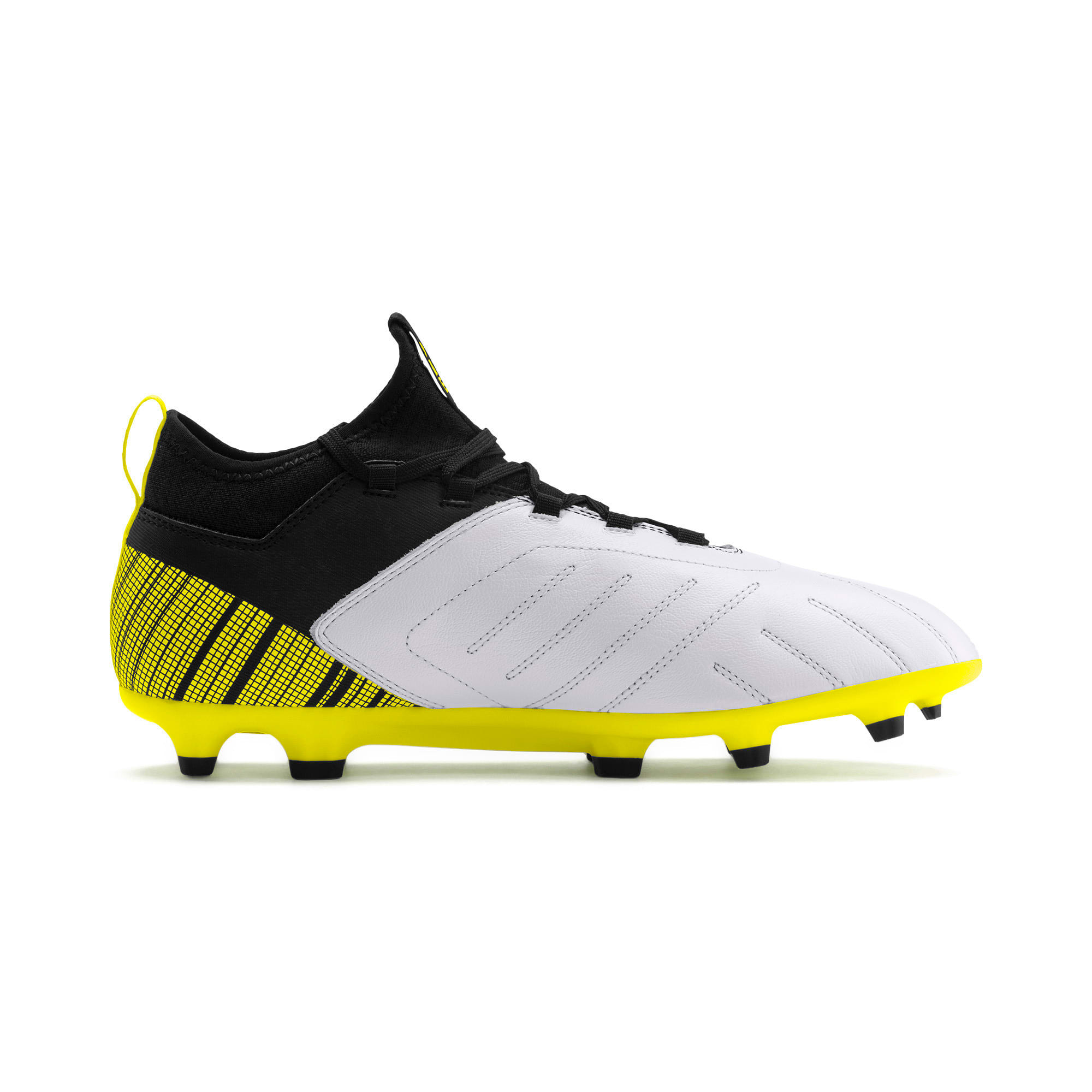 Thumbnail 6 of PUMA ONE 5.3 FG/AG Men's Soccer Cleats, White-Black-Yellow Alert, medium