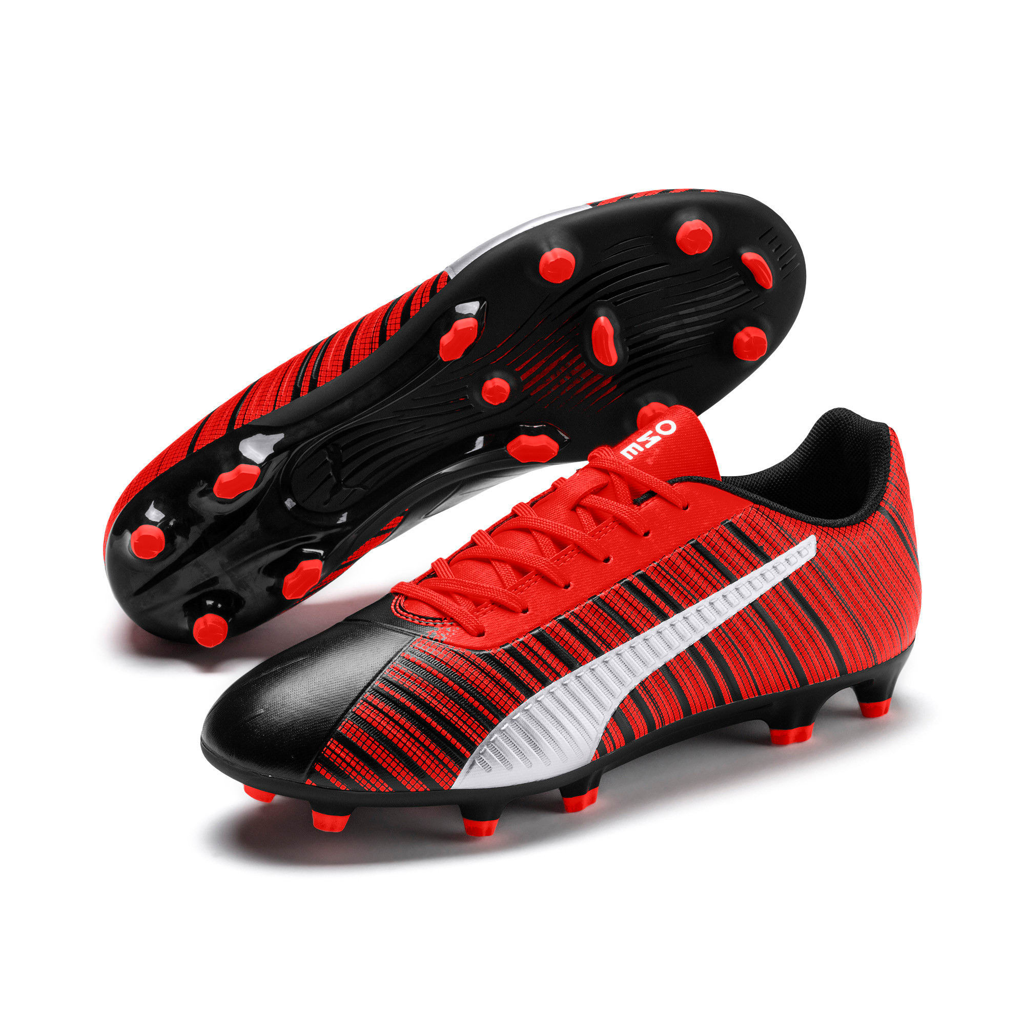 Thumbnail 3 of PUMA ONE 5.4 Men's FG/AG Football Boots, Black-Nrgy Red-Aged Silver, medium