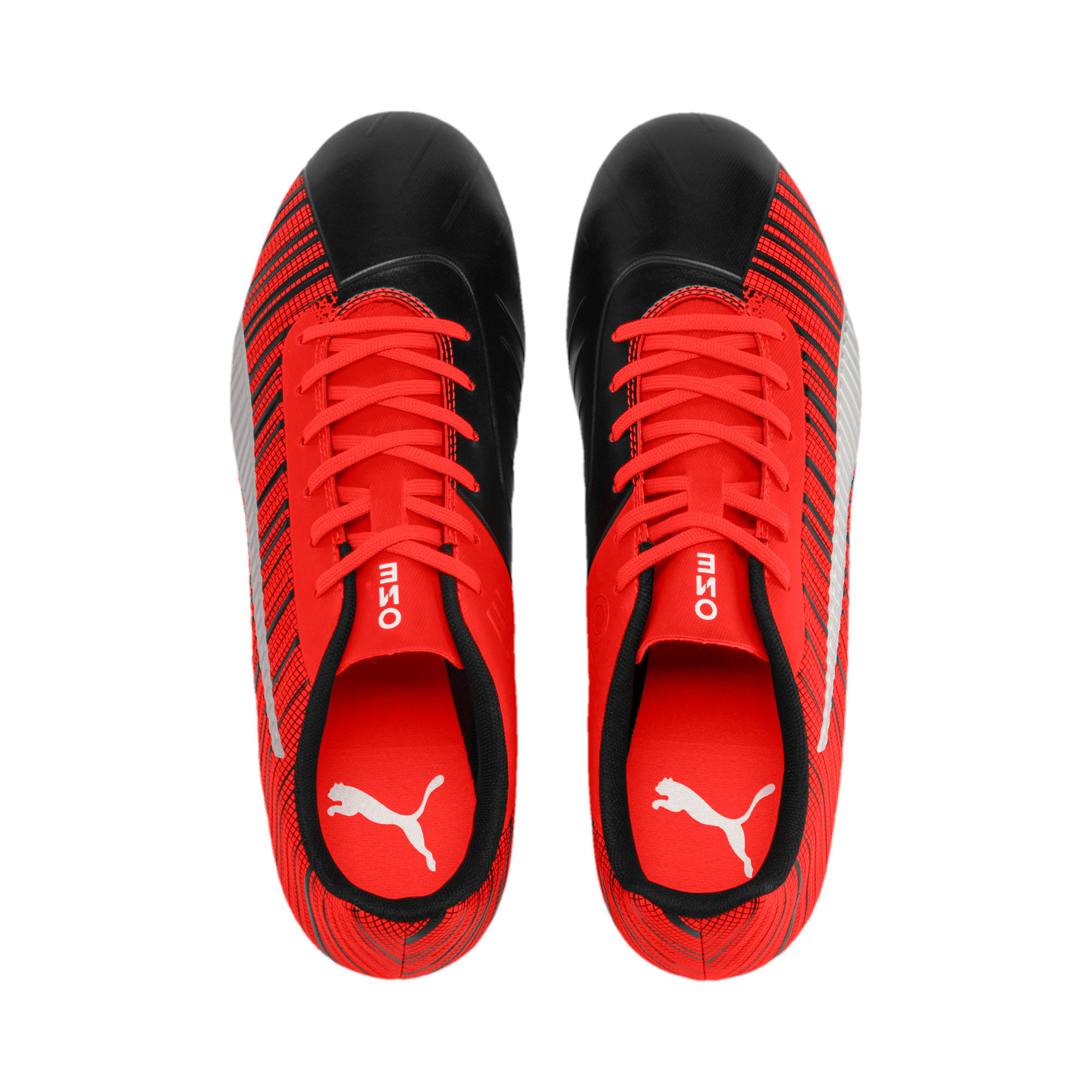 Thumbnail 7 of PUMA ONE 5.4 FG/AG Men's Soccer Cleats, Black-Nrgy Red-Aged Silver, medium