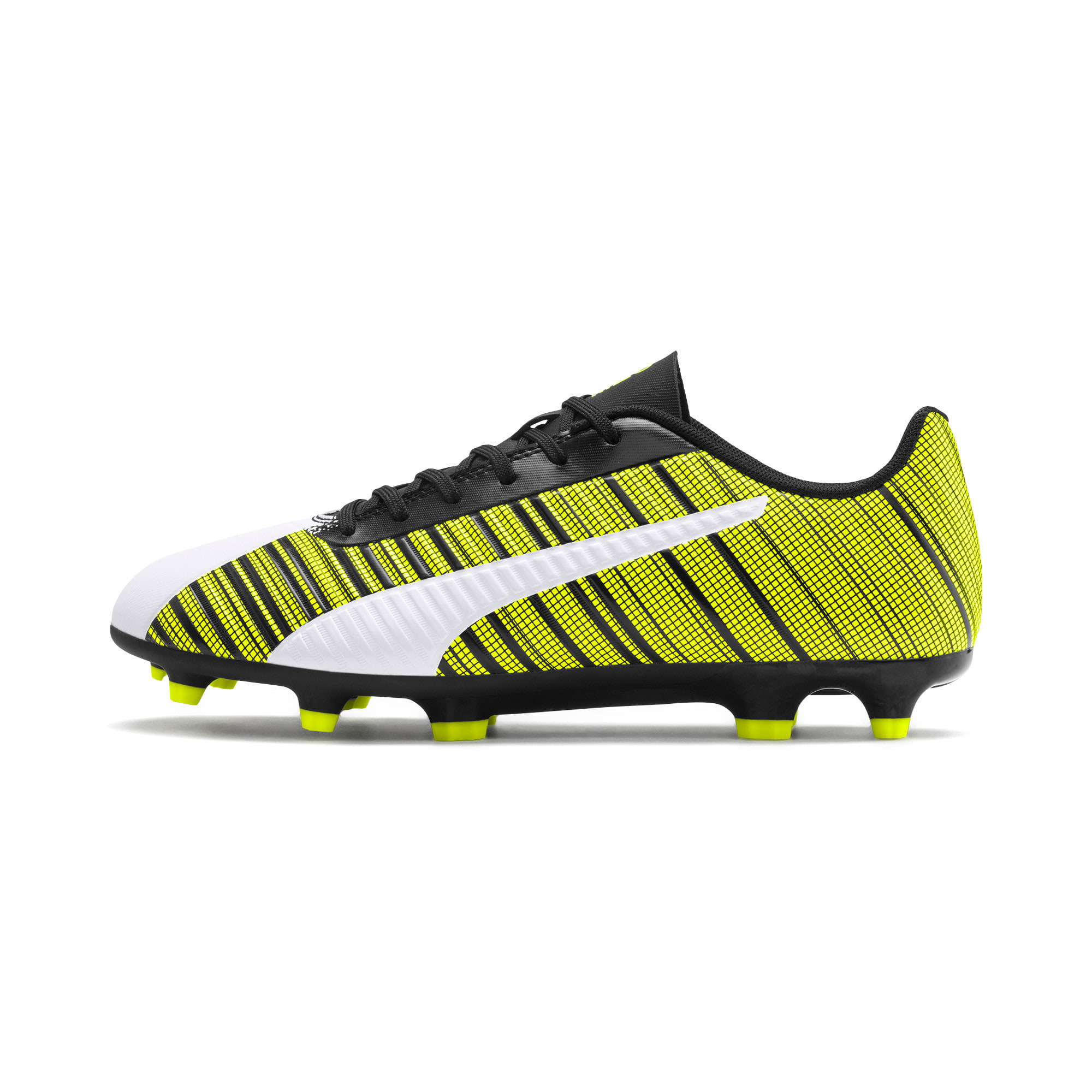 Thumbnail 1 of PUMA ONE 5.4 Men's FG/AG Football Boots, White-Black-Yellow Alert, medium