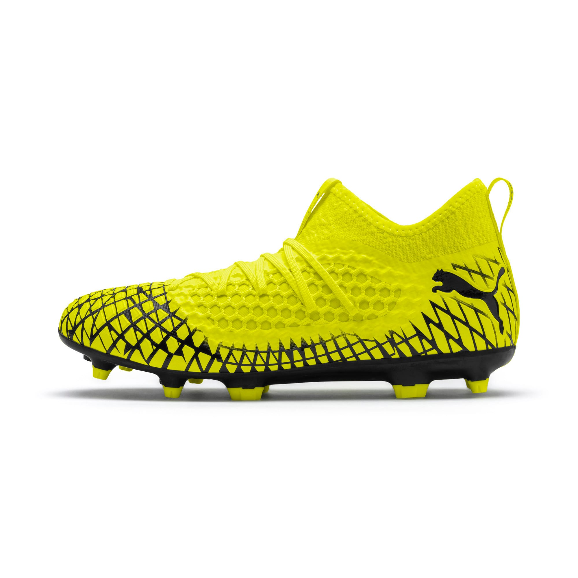 Thumbnail 1 of FUTURE 4.3 NETFIT FG/AG Men's Soccer Cleats, Yellow Alert-Puma Black, medium