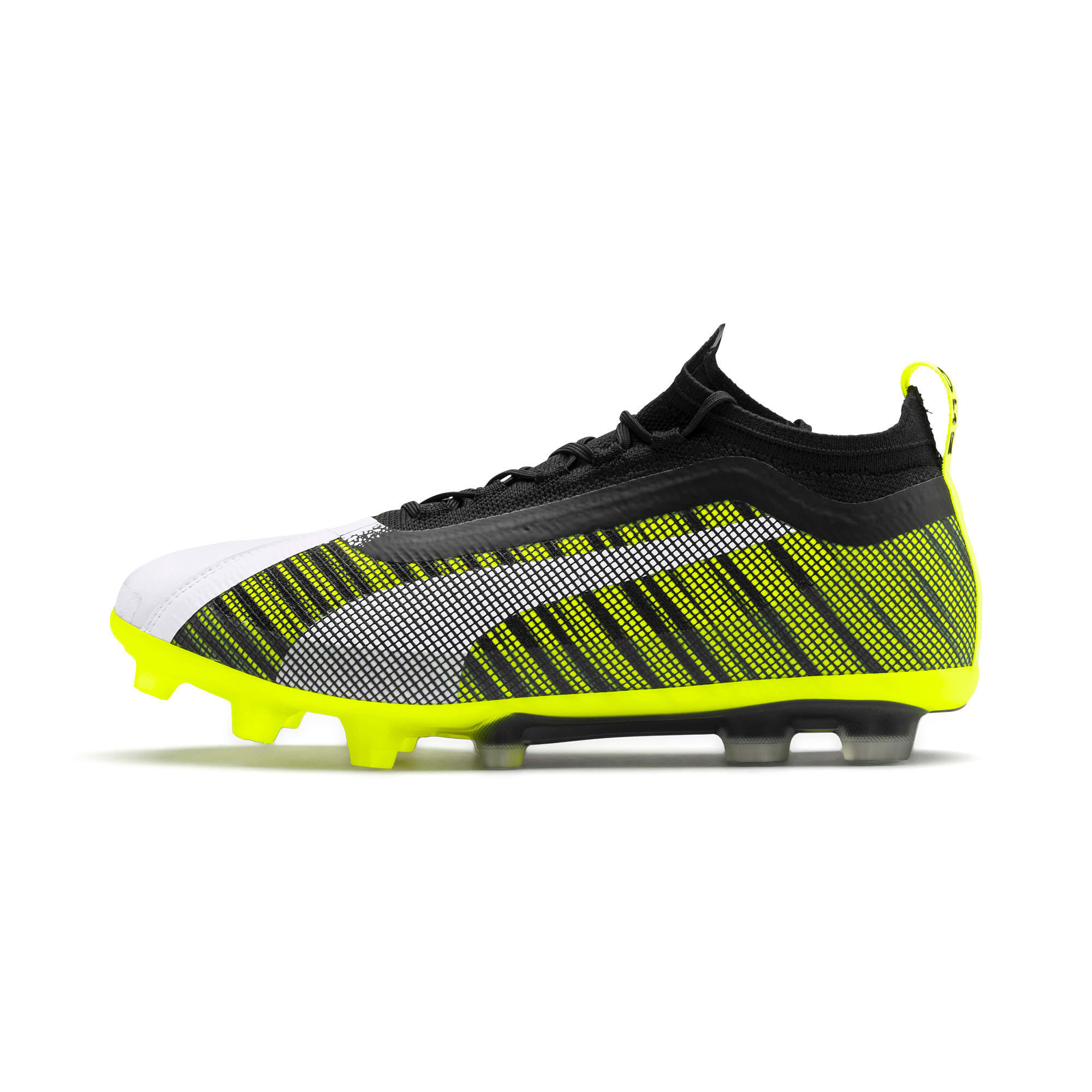 Thumbnail 1 of プーマ ワン 5.1 HG サッカースパイク, White-Black-Yellow Alert, medium-JPN