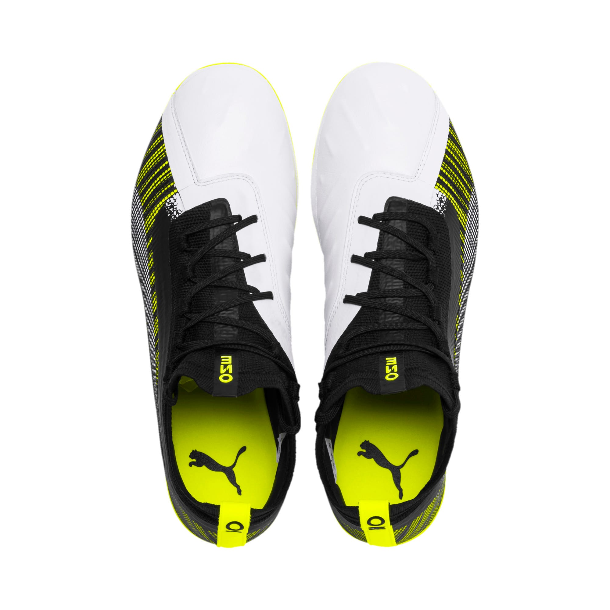 Thumbnail 7 of プーマ ワン 5.1 HG サッカースパイク, White-Black-Yellow Alert, medium-JPN