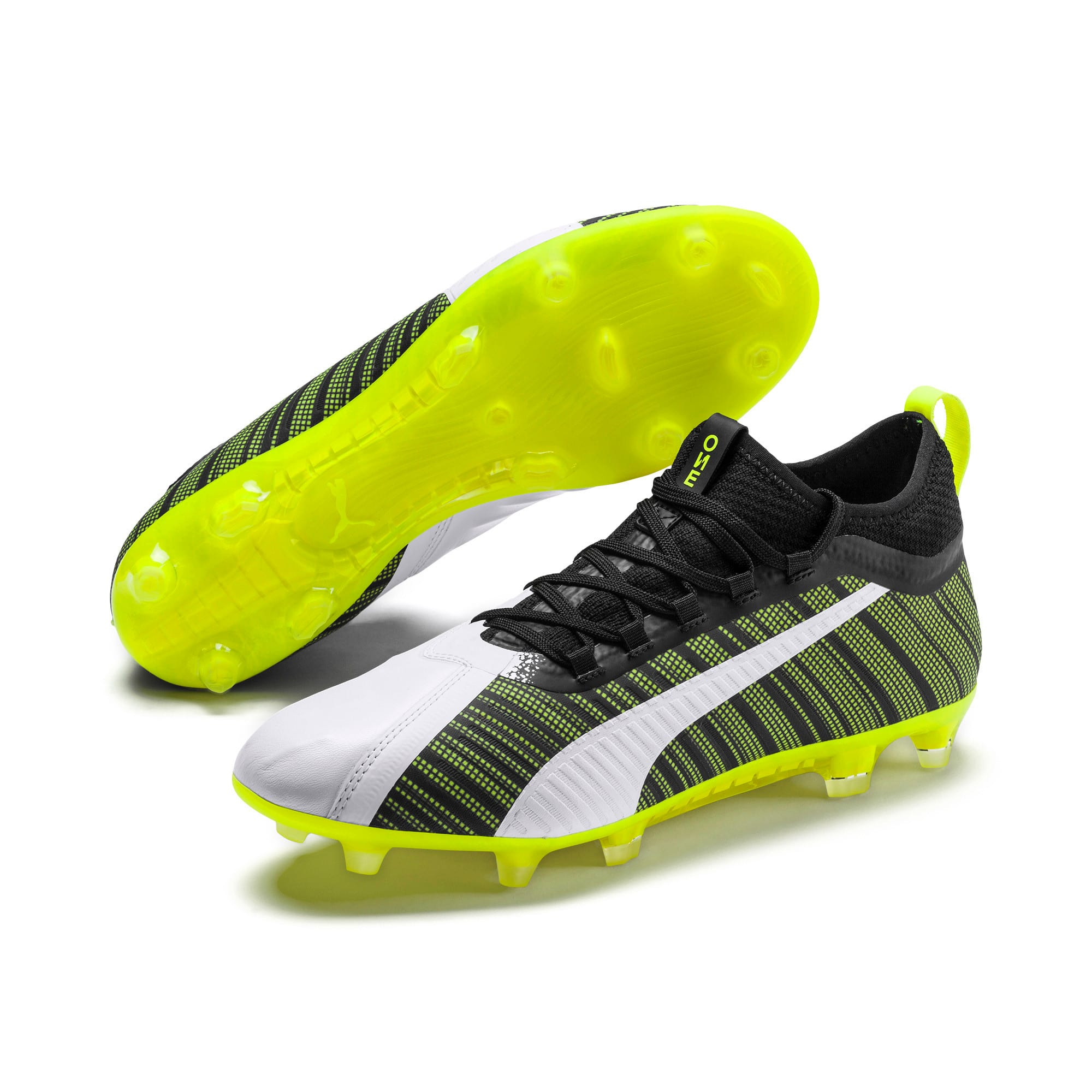 Thumbnail 3 of PUMA ONE 5.2 Men's Football Boots, White-Black-Yellow Alert, medium