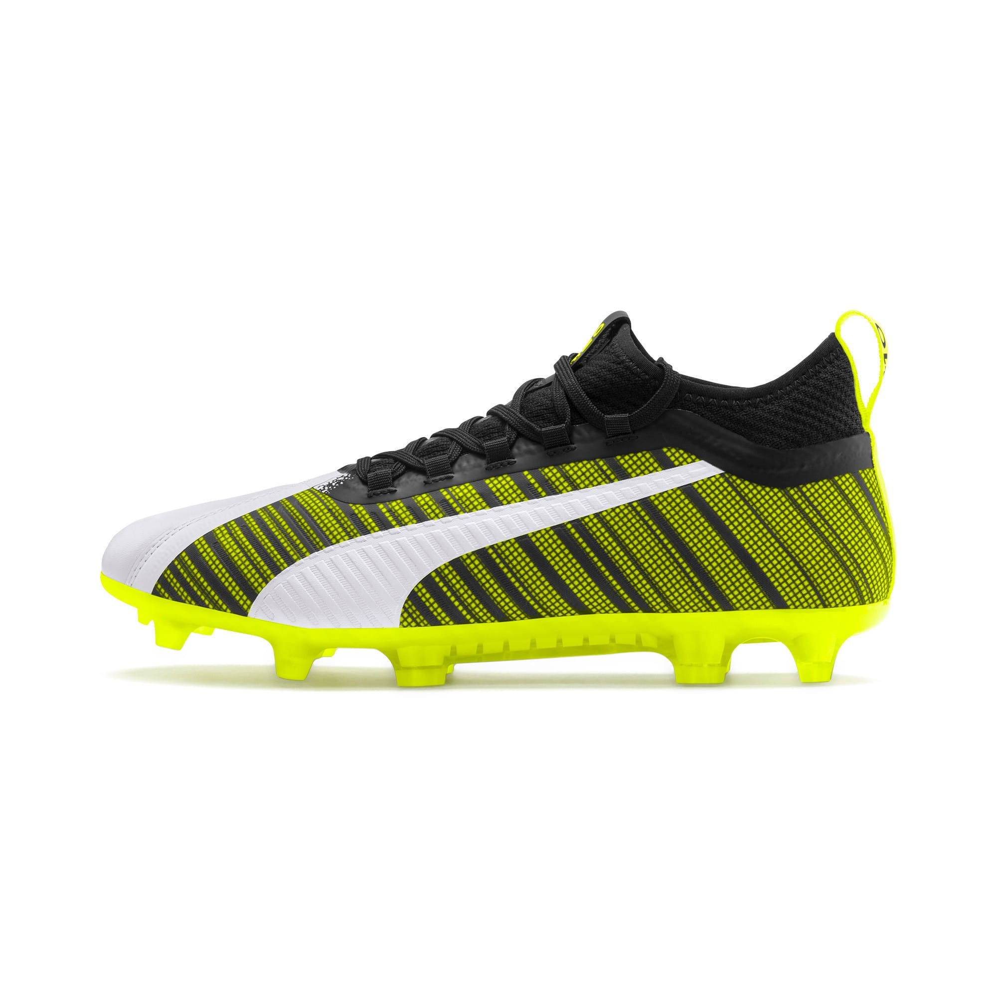 Thumbnail 1 of PUMA ONE 5.2 Men's Football Boots, White-Black-Yellow Alert, medium