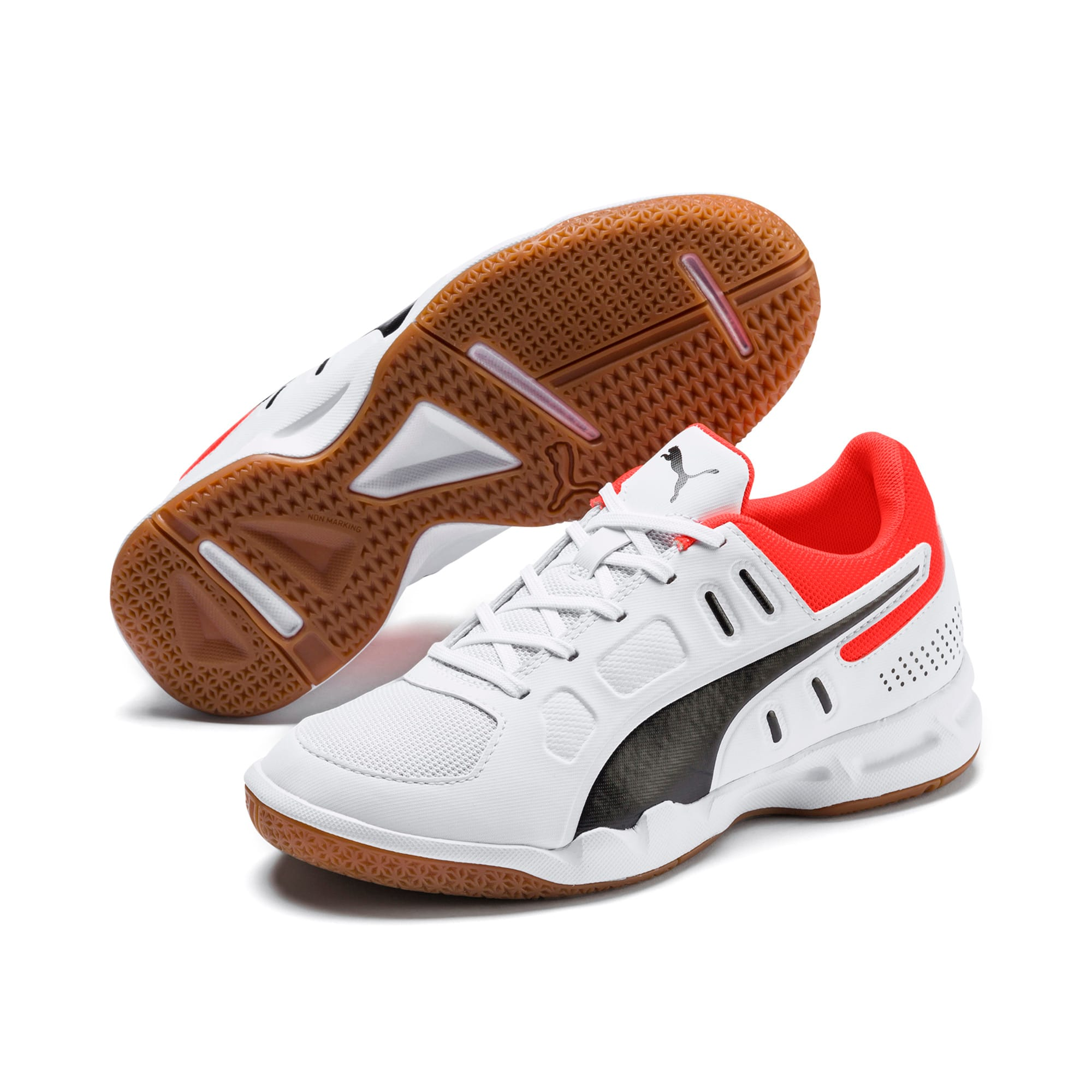 Thumbnail 2 of Auriz Youth Trainers, White-Black-Nrgy Red-Gum, medium