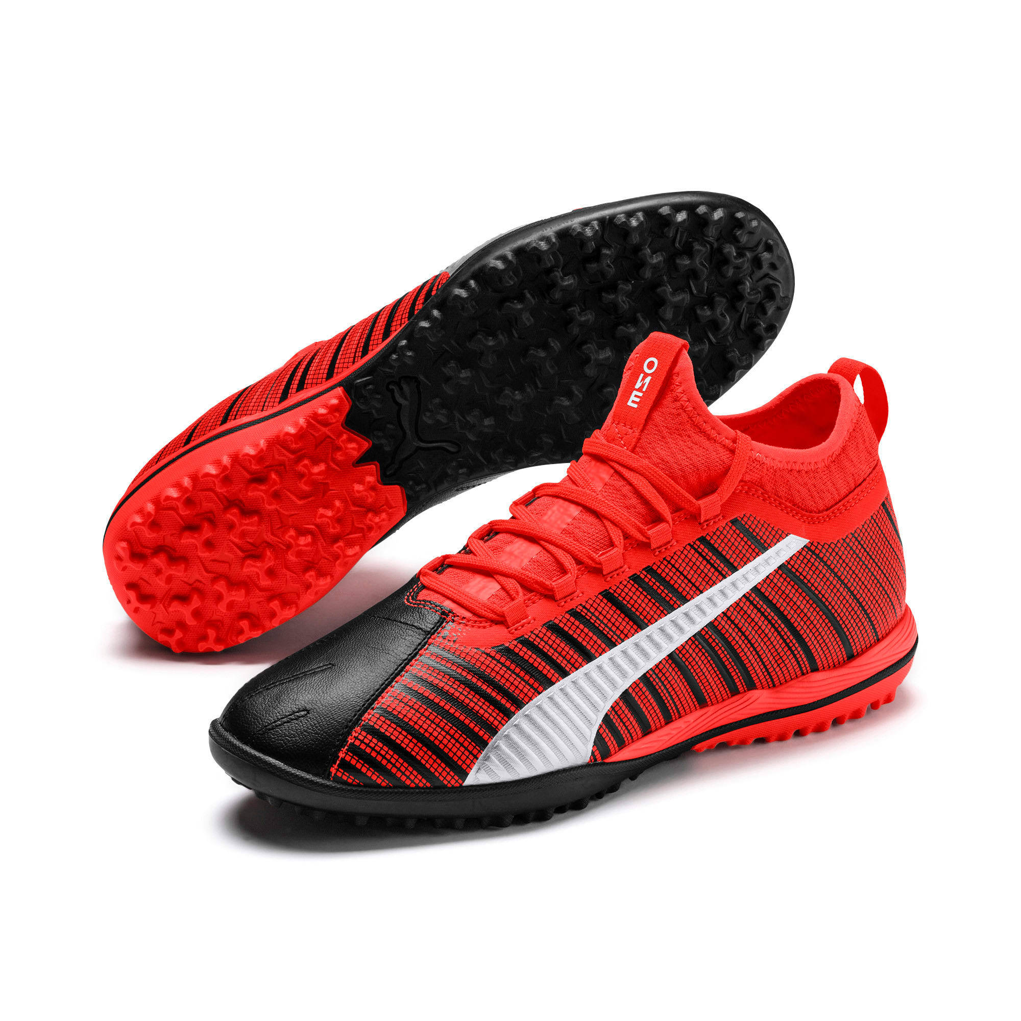Thumbnail 3 of PUMA ONE 5.3 TT Men's Soccer Shoes, Black-Nrgy Red-Aged Silver, medium