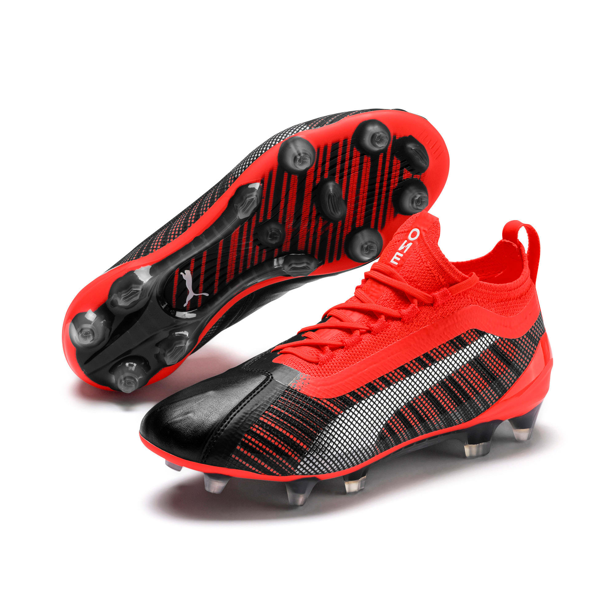 Thumbnail 2 of PUMA ONE 5.1 FG/AG Soccer Cleats JR, Black-Nrgy Red-Aged Silver, medium