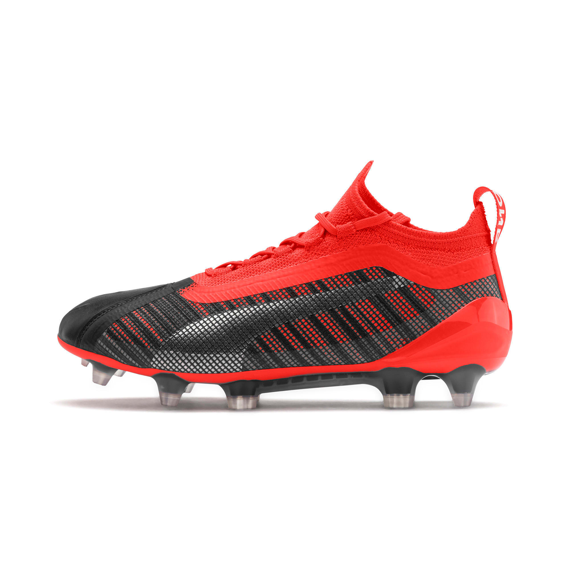 Thumbnail 1 of PUMA ONE 5.1 FG/AG Soccer Cleats JR, Black-Nrgy Red-Aged Silver, medium