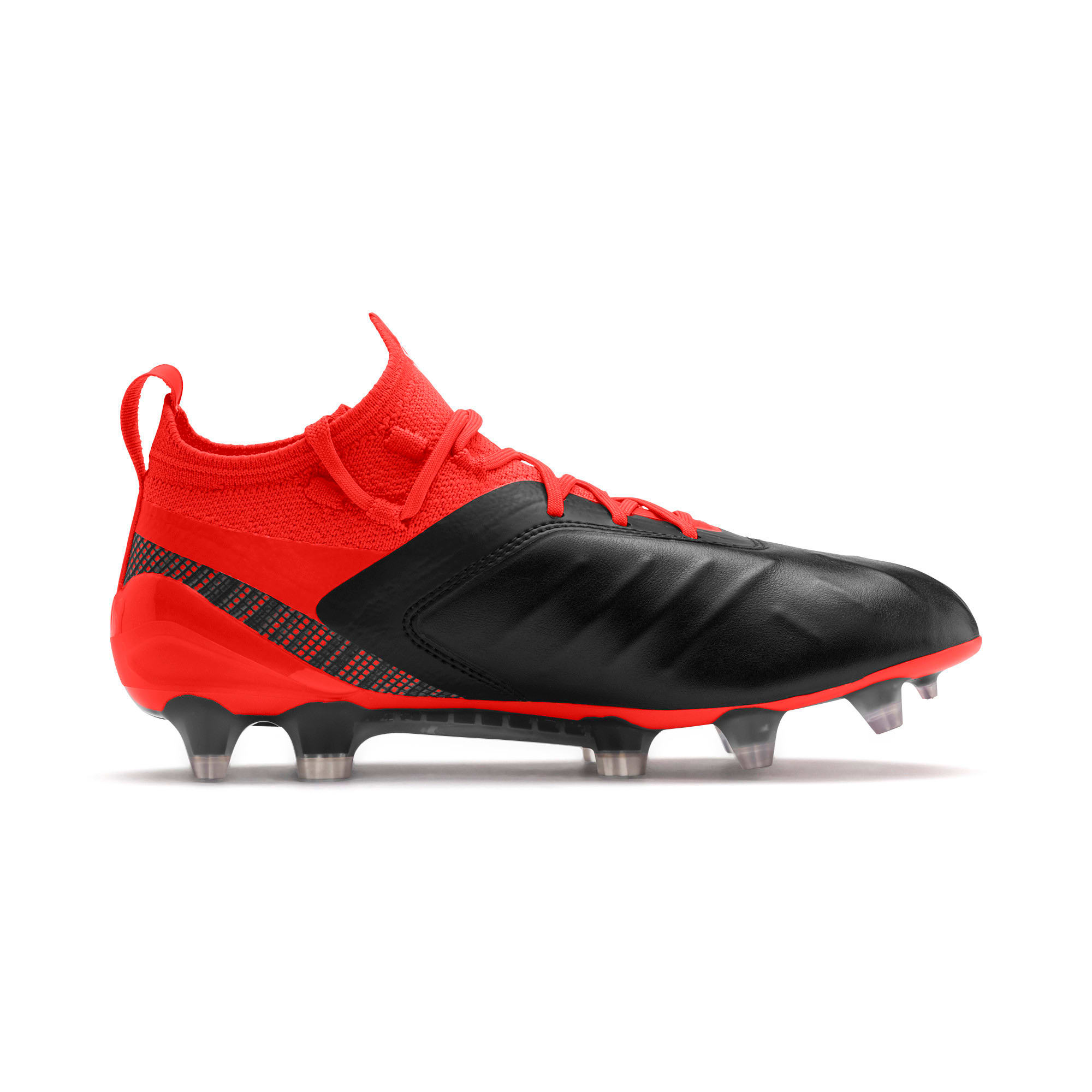 Thumbnail 5 of PUMA ONE 5.1 FG/AG Soccer Cleats JR, Black-Nrgy Red-Aged Silver, medium